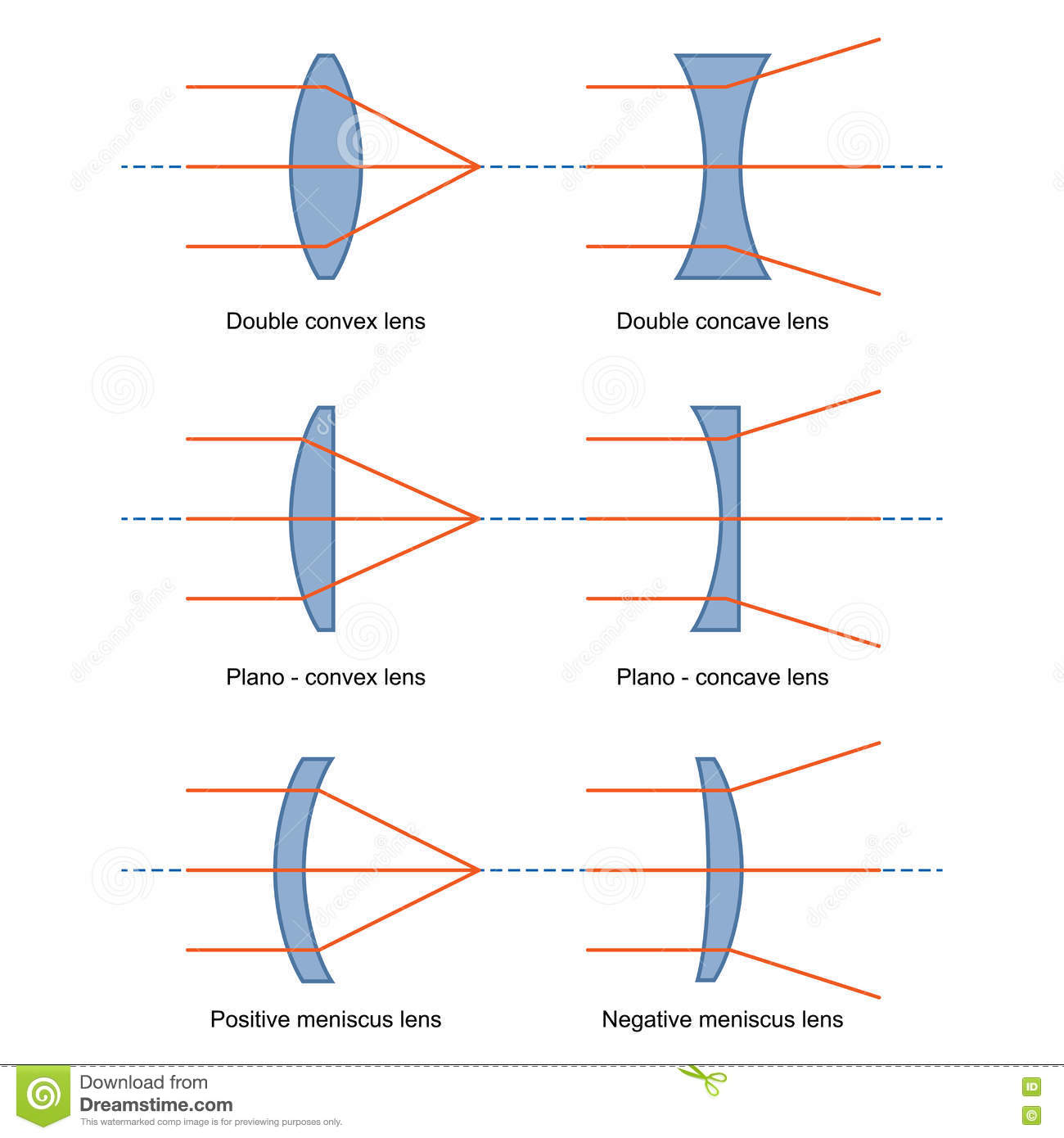Ray Diagrams For Lenses Vector Stock Vector