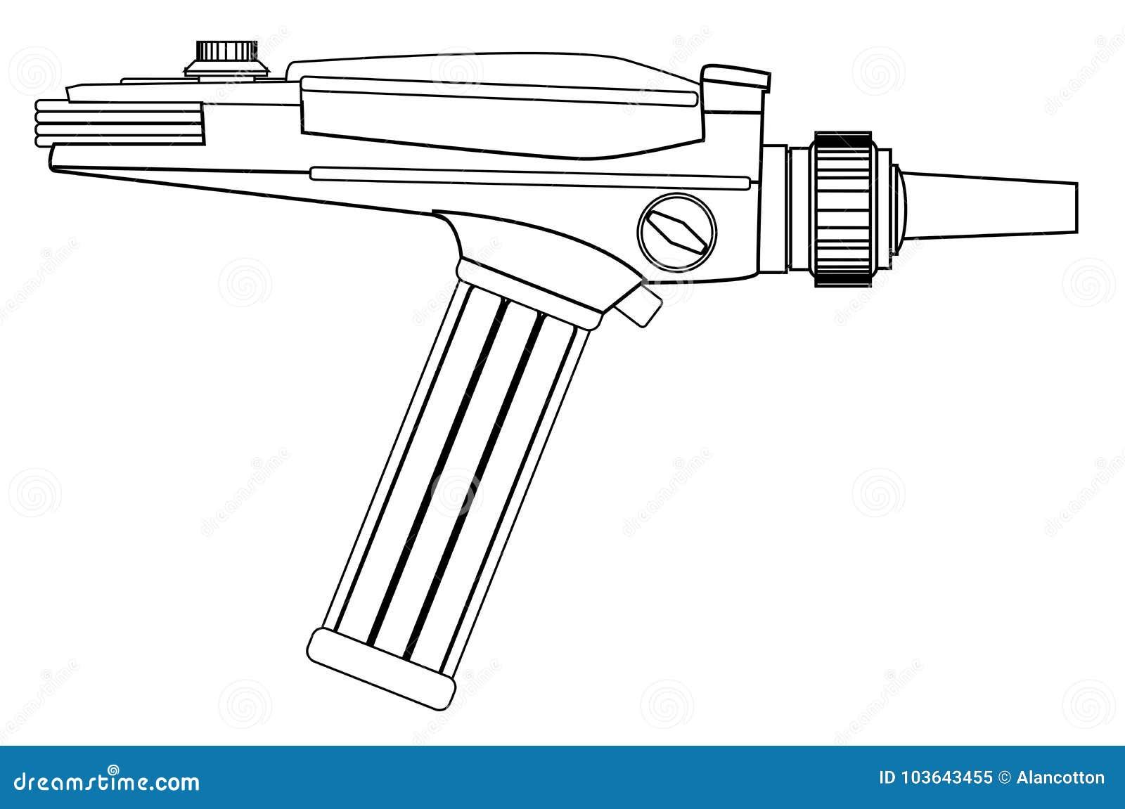 Line Drawing Gun : Ray gun line drawing vector illustratie