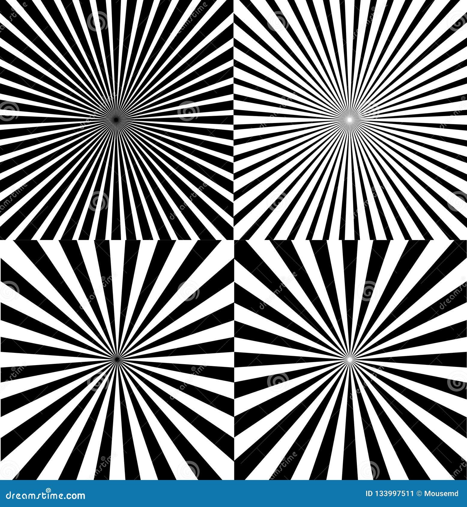 Ray Star Burst Background Set noir et blanc Vecteur