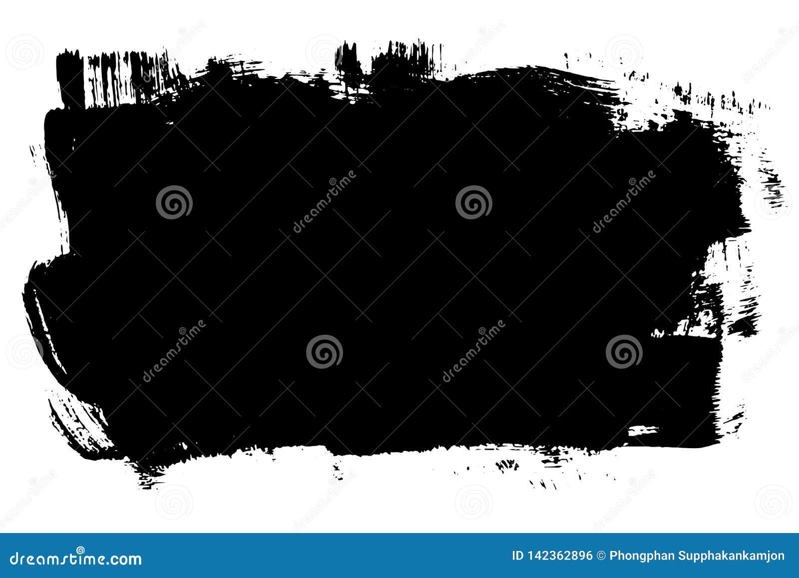 Raya exhausta de la brocha de la mano del Grunge Movimiento negro del cepillo de la tinta del vector Detalle del fondo de la pint