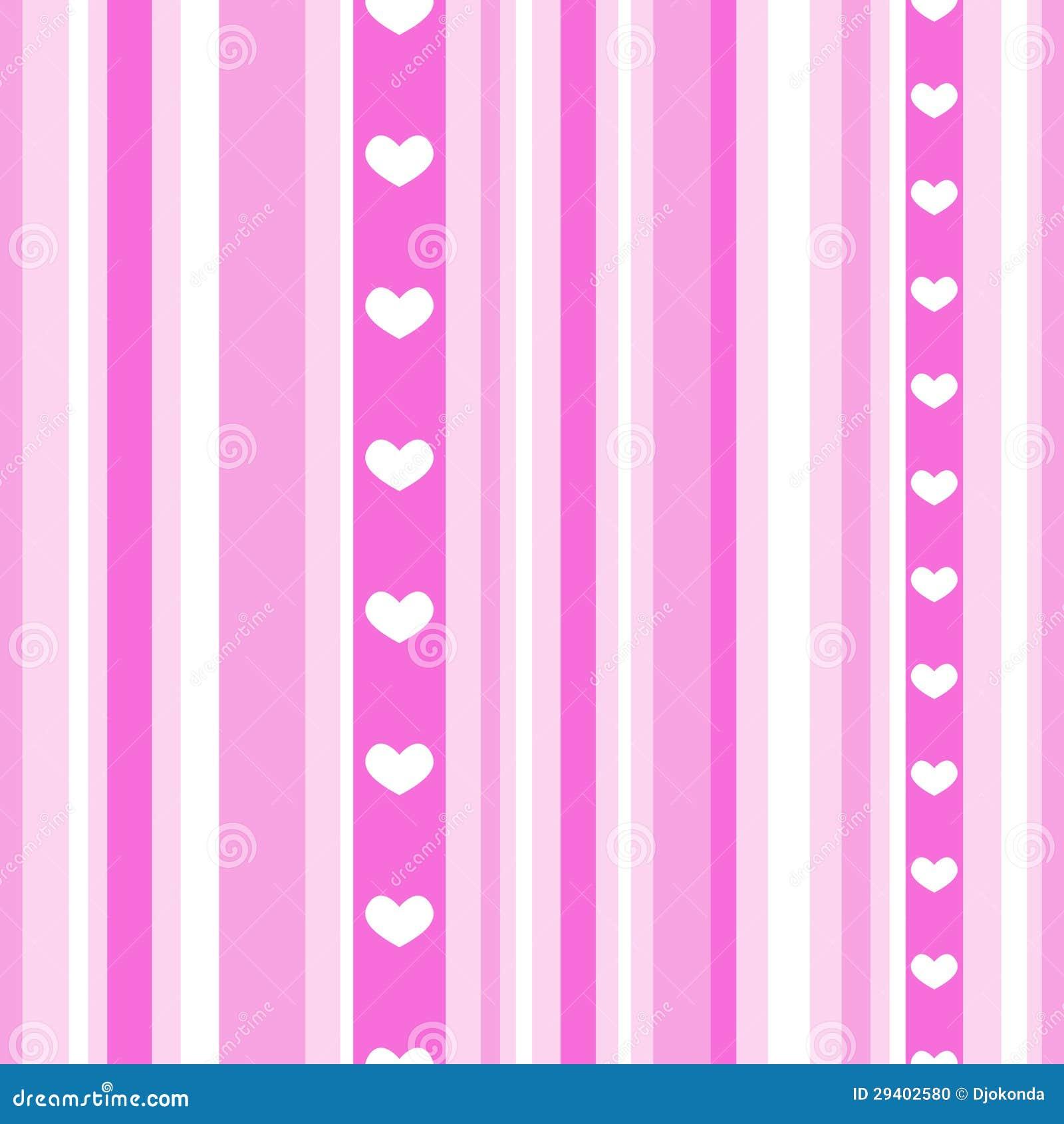 Rayas rosadas incons tiles con los corazones ilustraci n - Papel de pared de rayas ...