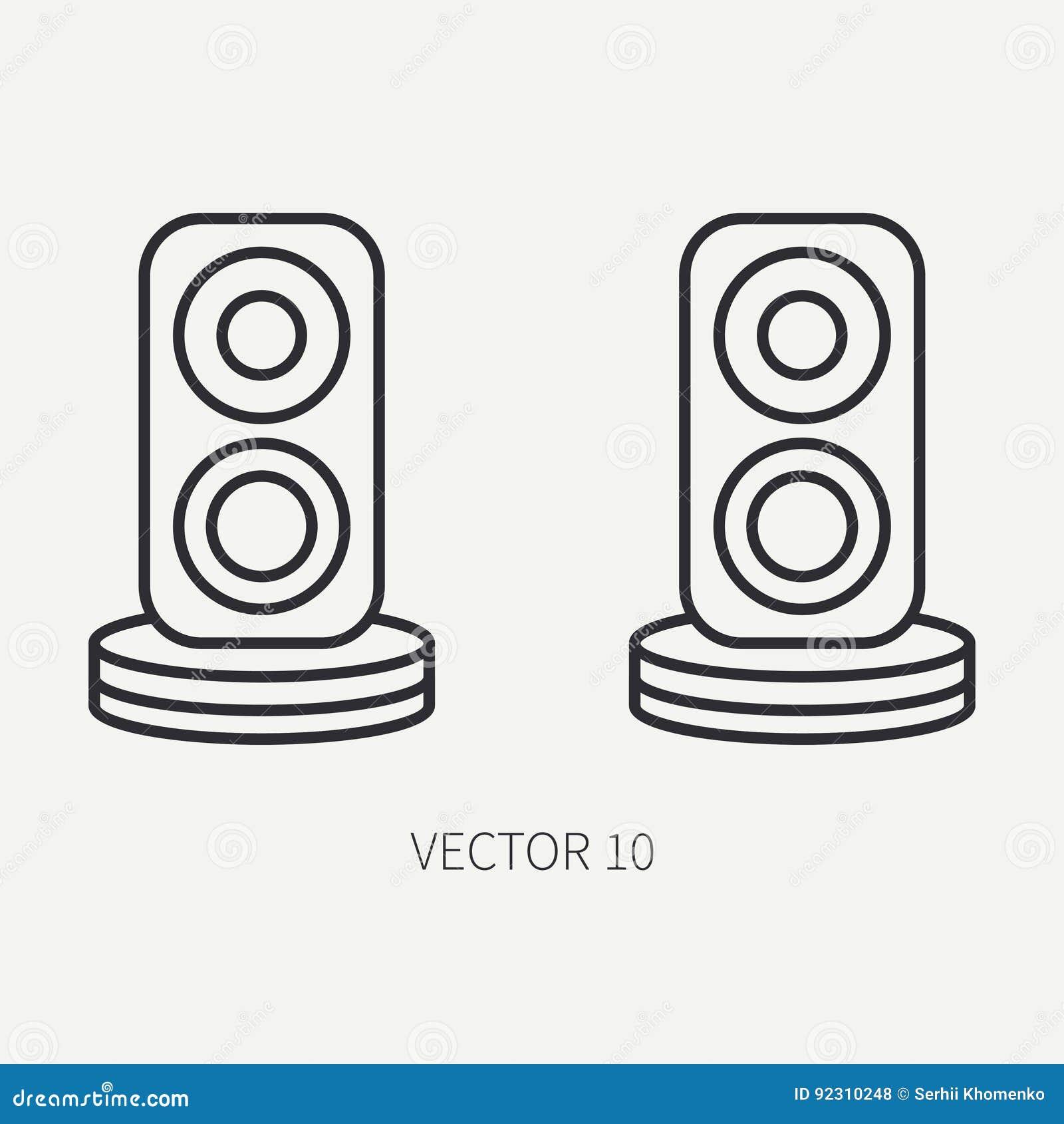 Type De Haut Parleur rayez les haut-parleurs plats d'audio d'icône de pièce d