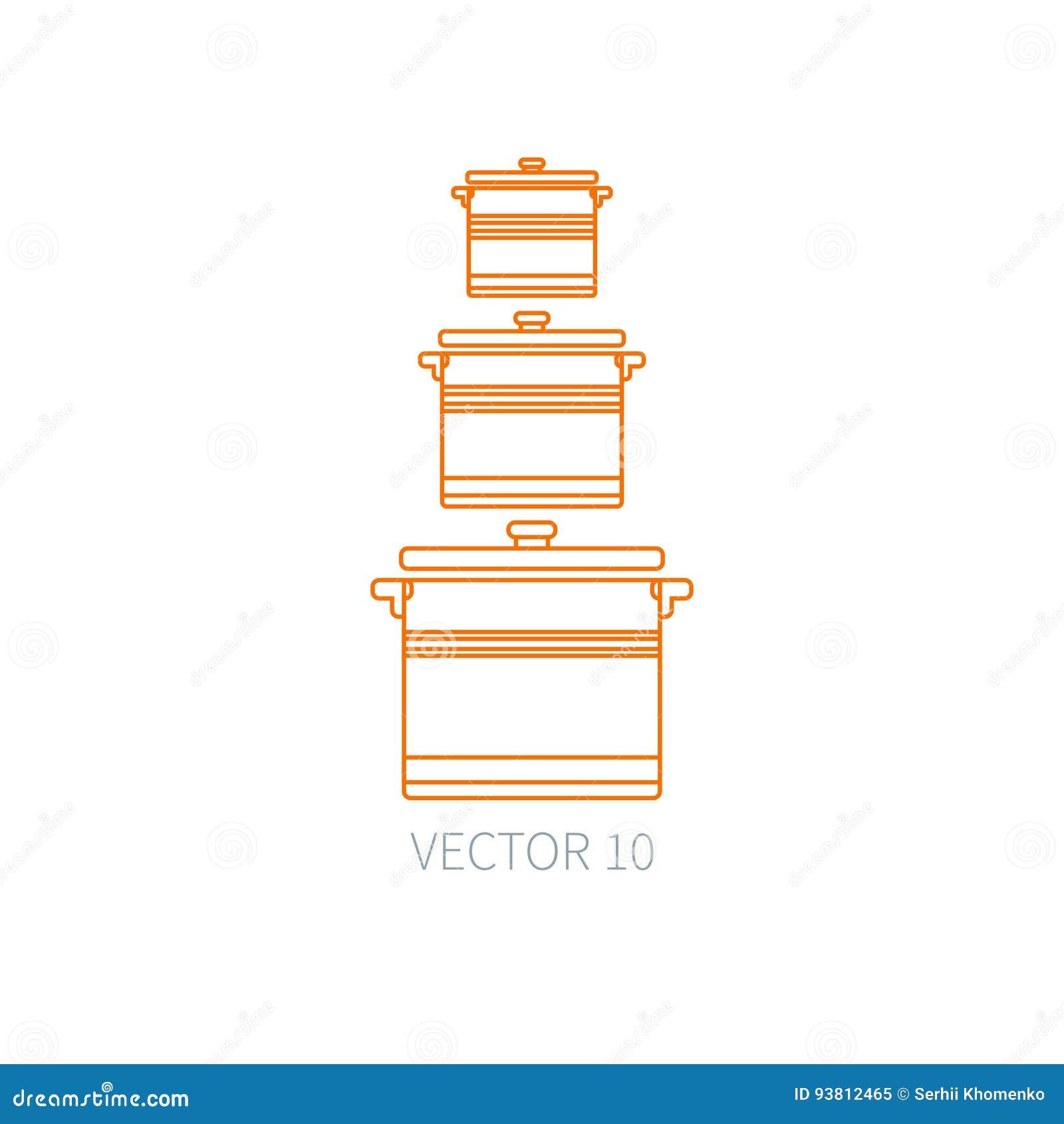 Dessin Casserole Cuisine rayez les icônes plates de vaisselle de cuisine de vecteur