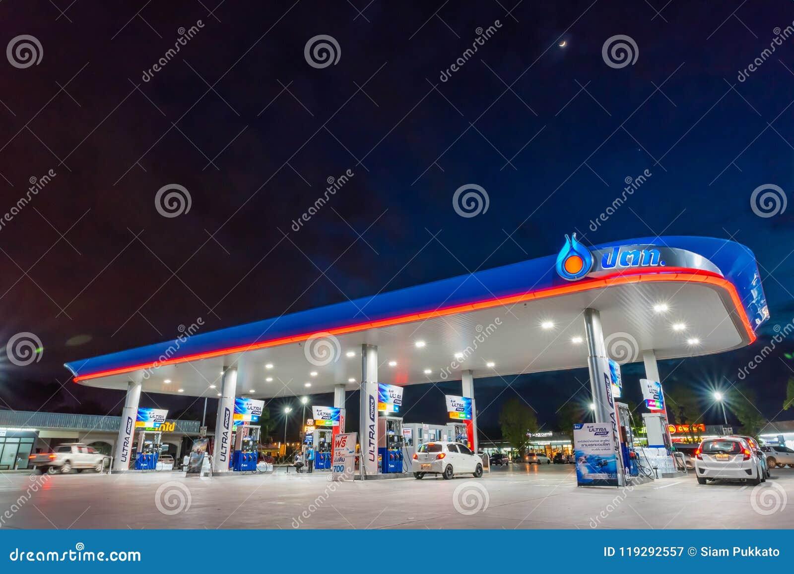 Rayong, Rayong /Thailand - 17 giugno 2018: Stazione di servizio delle PPTT