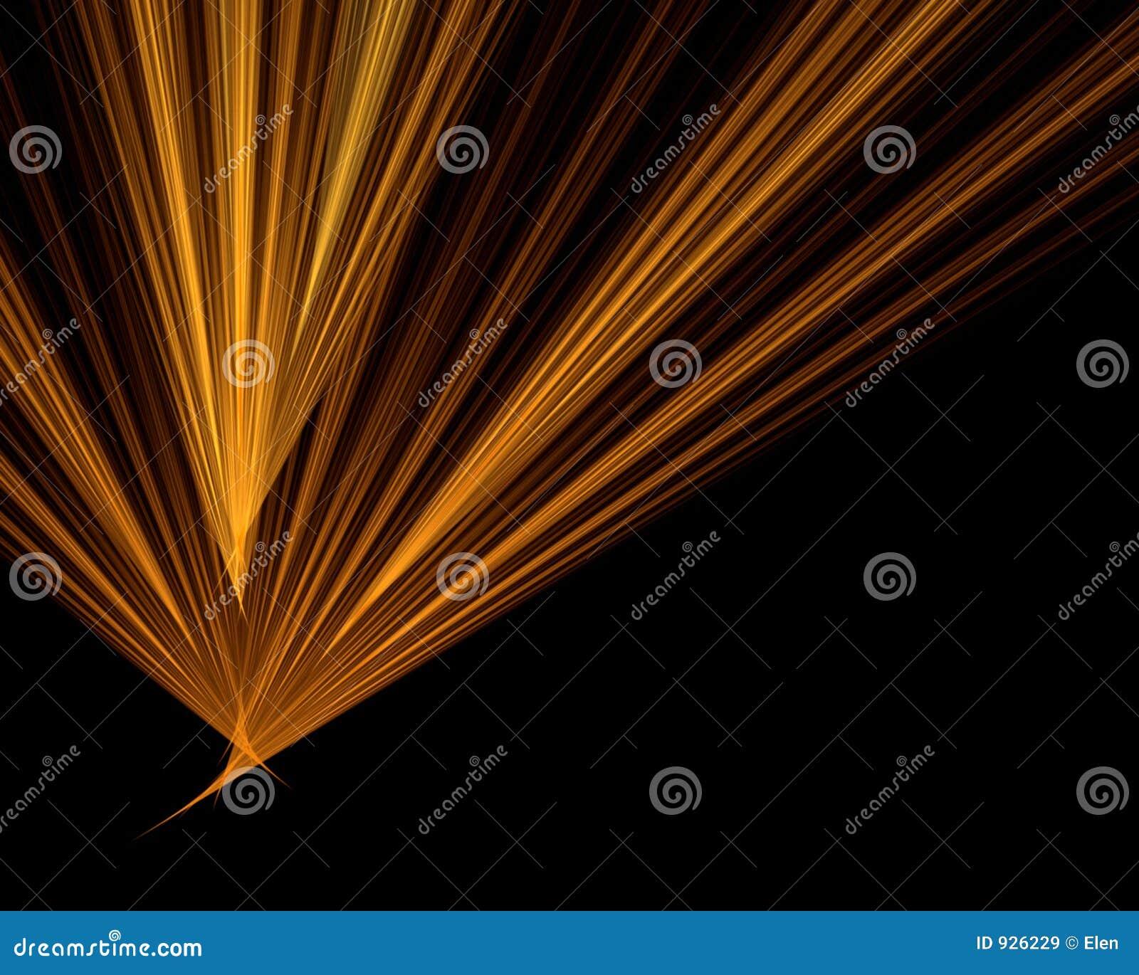 Rayos anaranjados en fondo negro