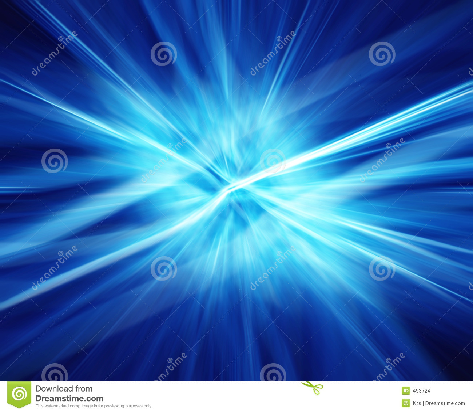 Rayos de la energía azul.