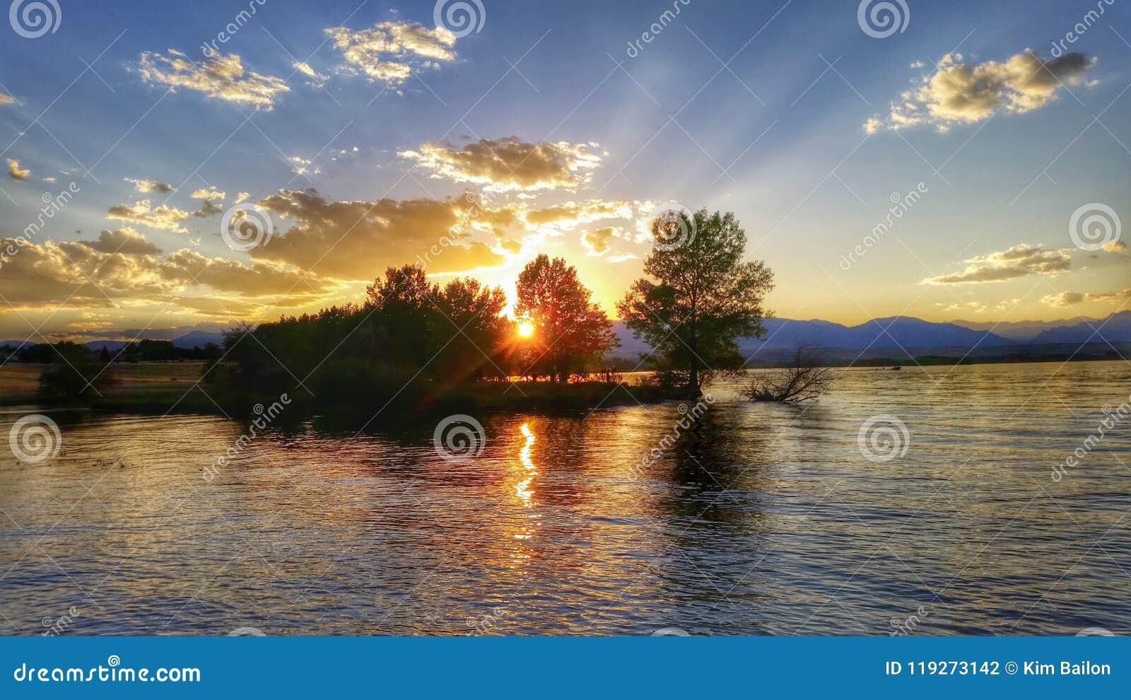Rayos de la puesta del sol a través de árboles en el lago