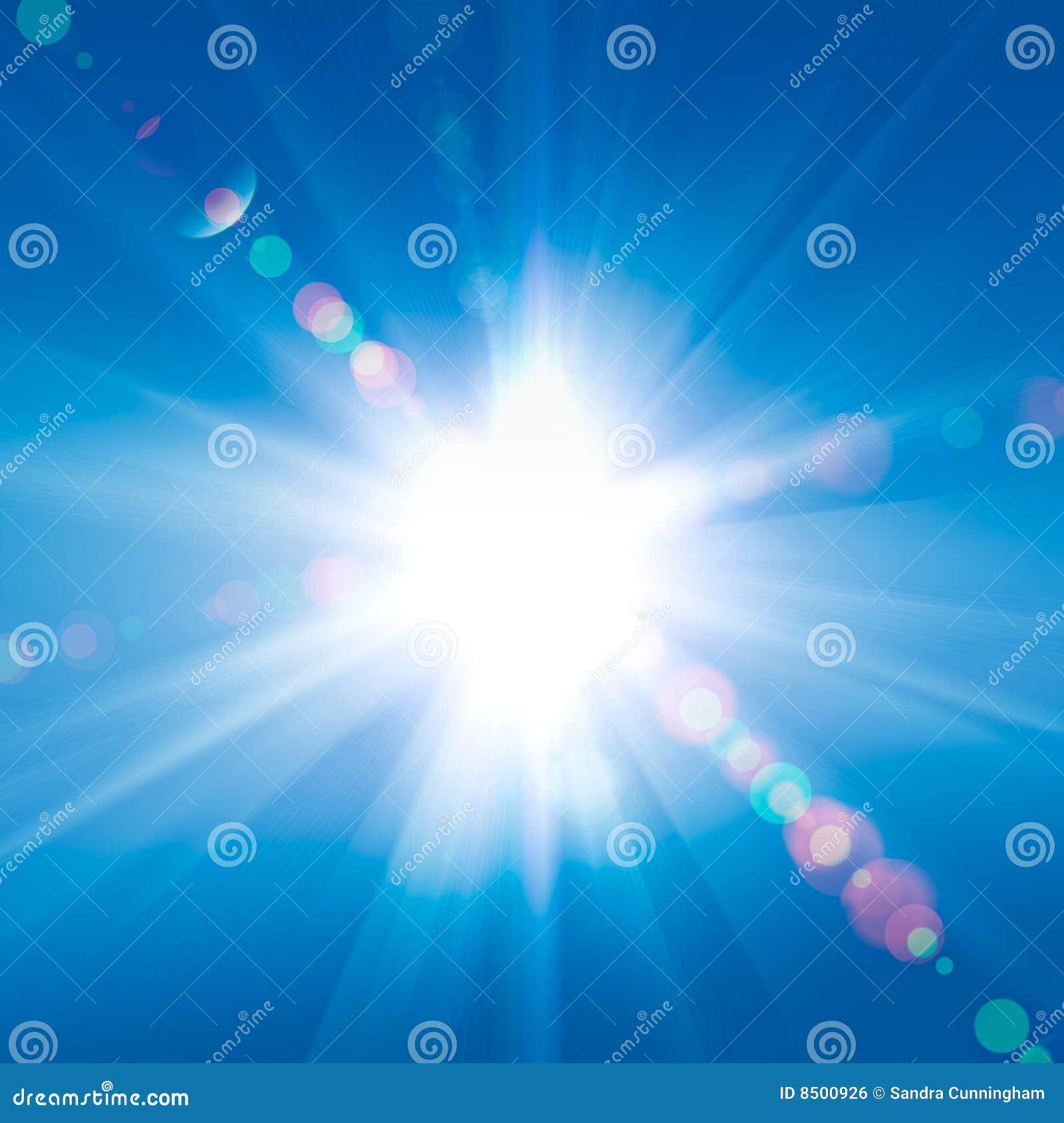 Rayos de Sun contra un cielo
