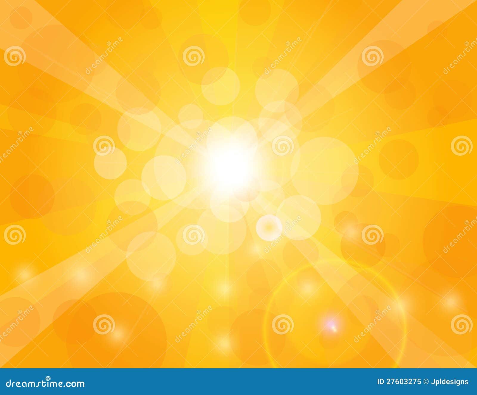 Rayos de Sun en la ilustración anaranjada del fondo