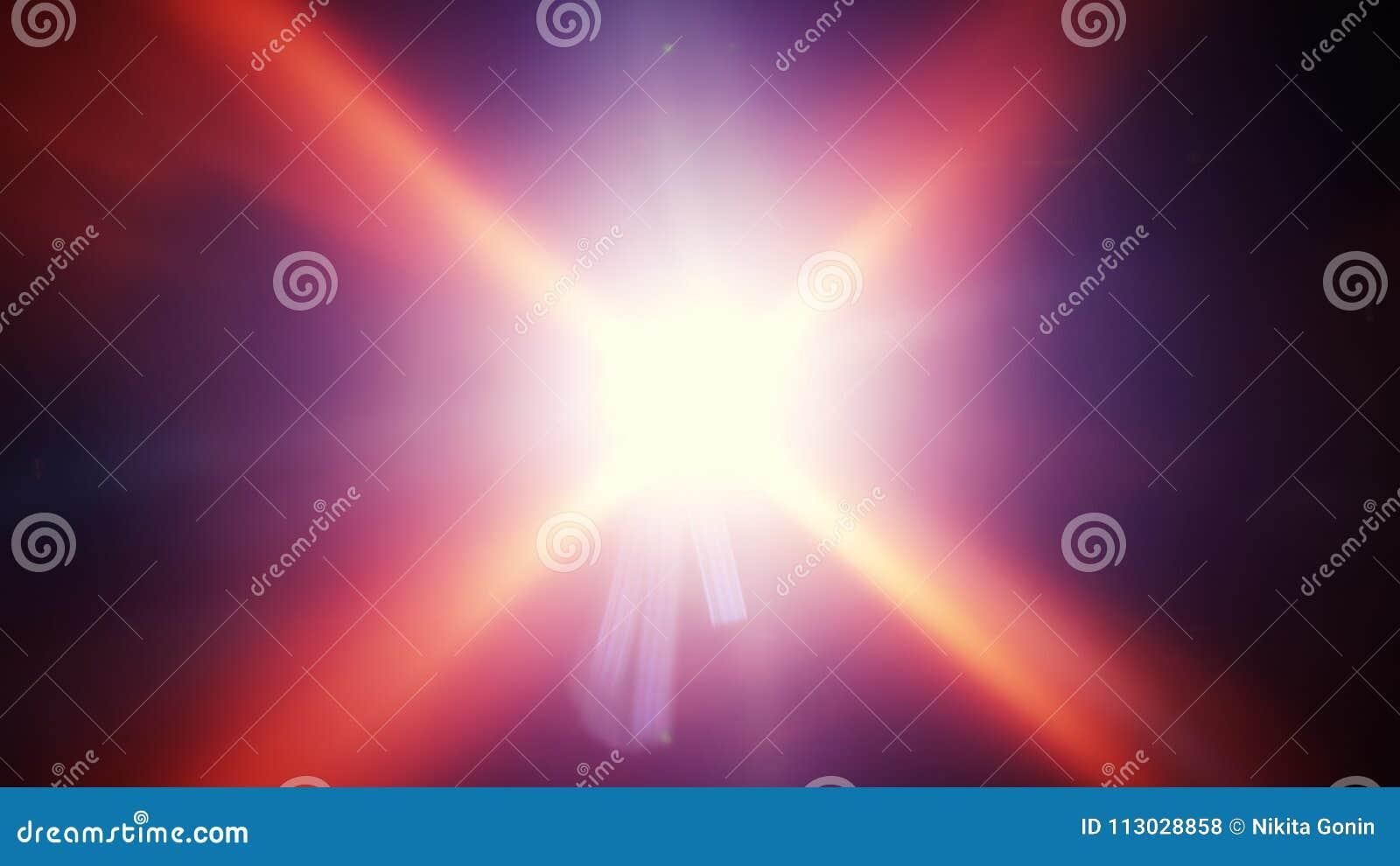 Rayos ligeros y llamaradas radiales de la lente