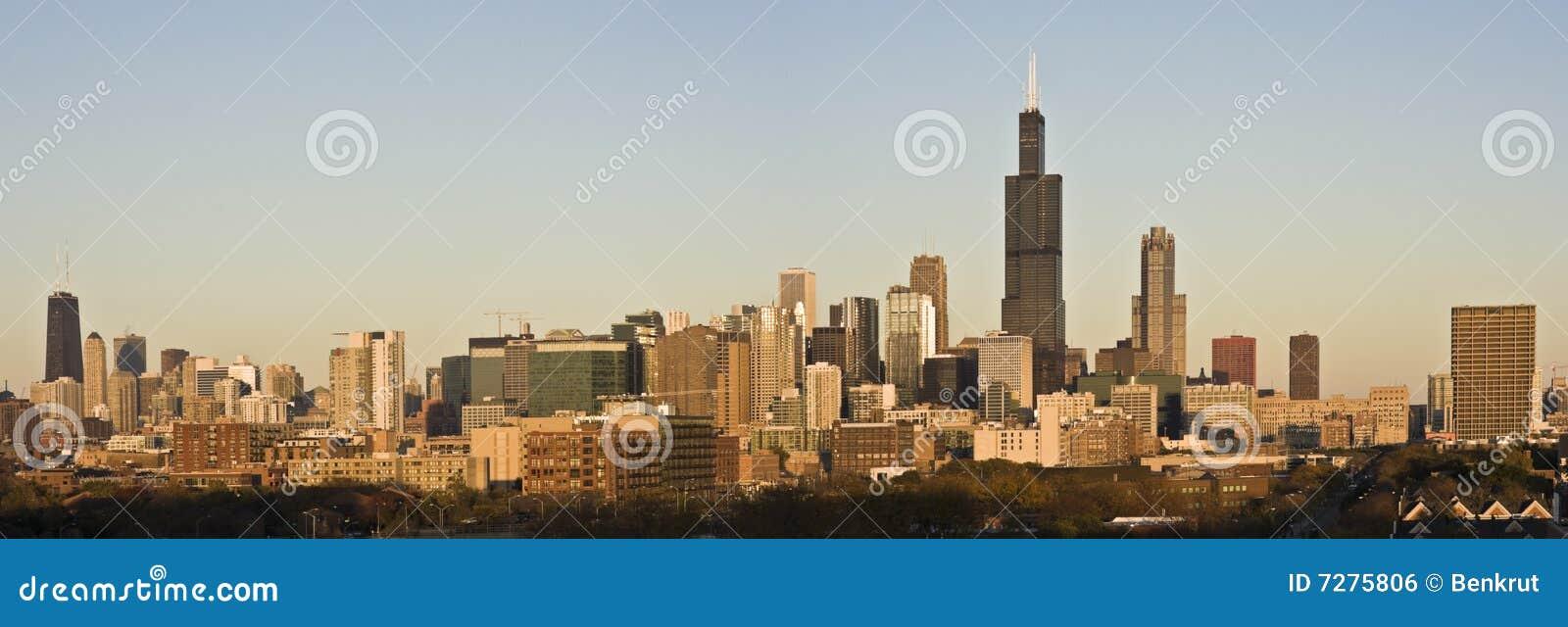 Rayos pasados del sol en Chicago