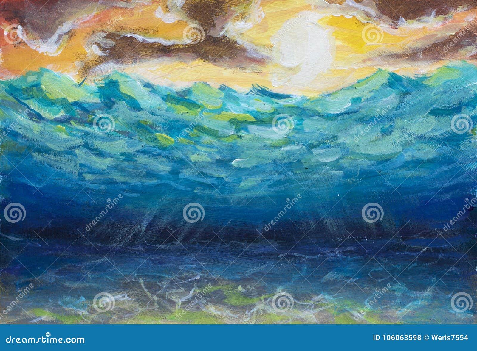 Rays den undervattens- världen för härlig blå turkos, havsvågor, gul orange himmel, den vita solen, den ljusa naturen, reflexion