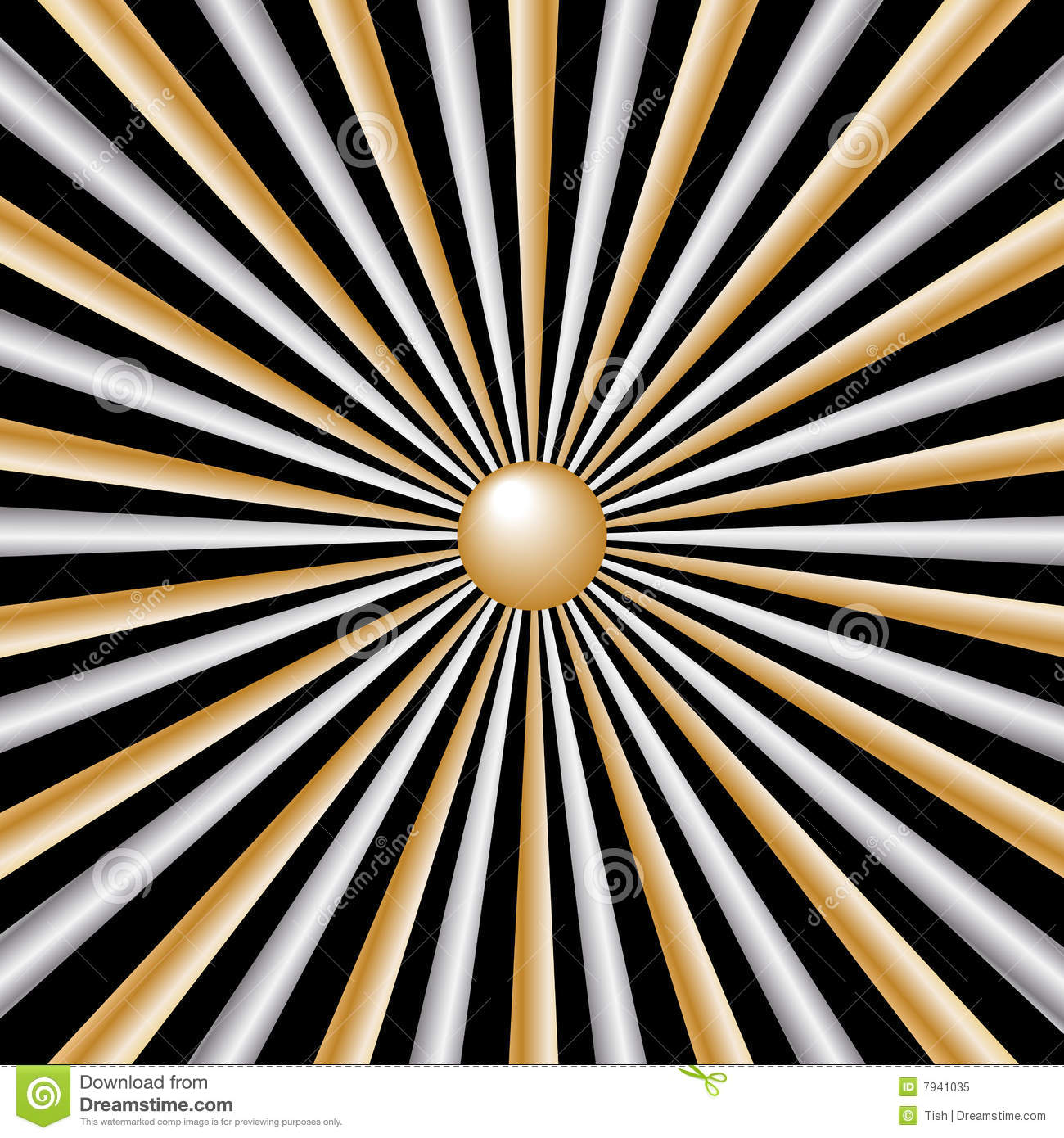 rays silver and gold on black background stock vector
