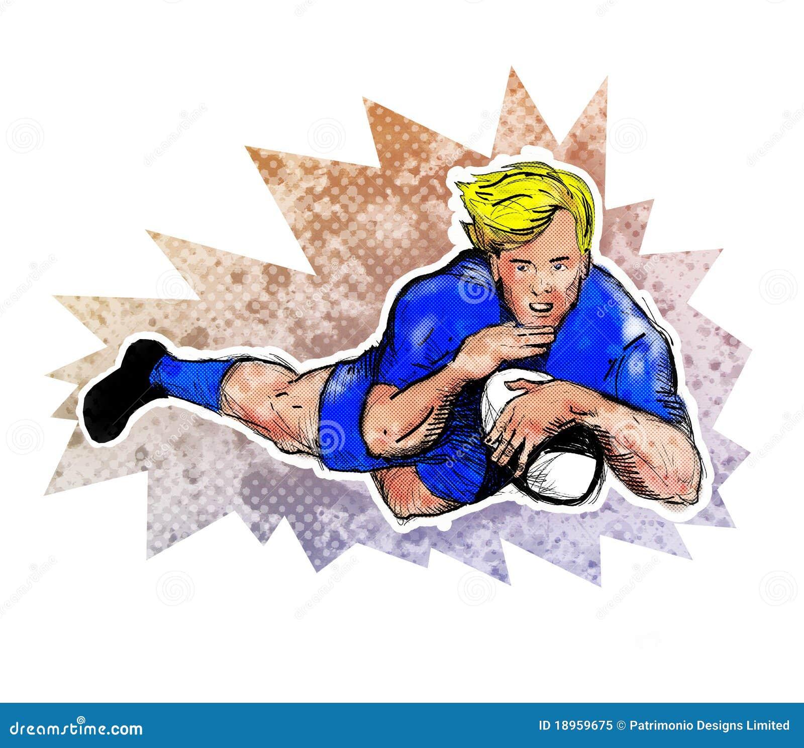 Rayure de joueur de rugby une bille d 39 essai illustration stock illustration du homme - Dessin de joueur de rugby ...
