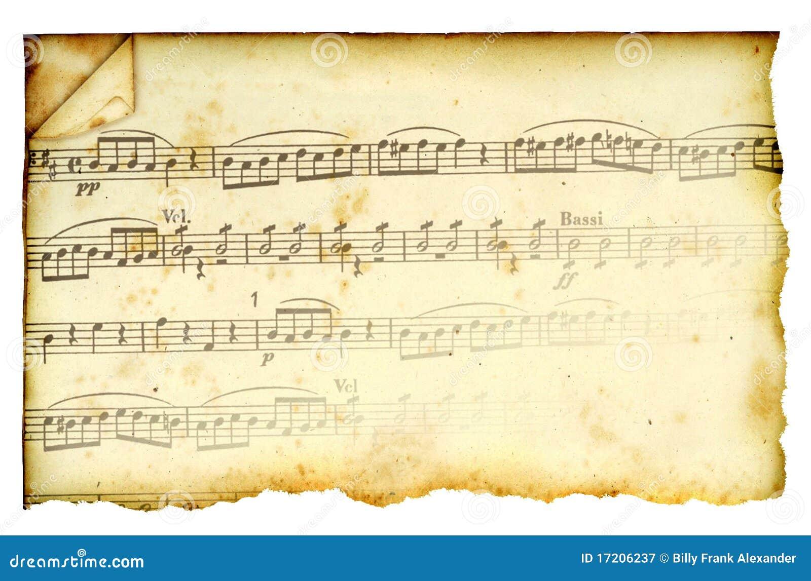 Rayure de musique souillée par antiquité