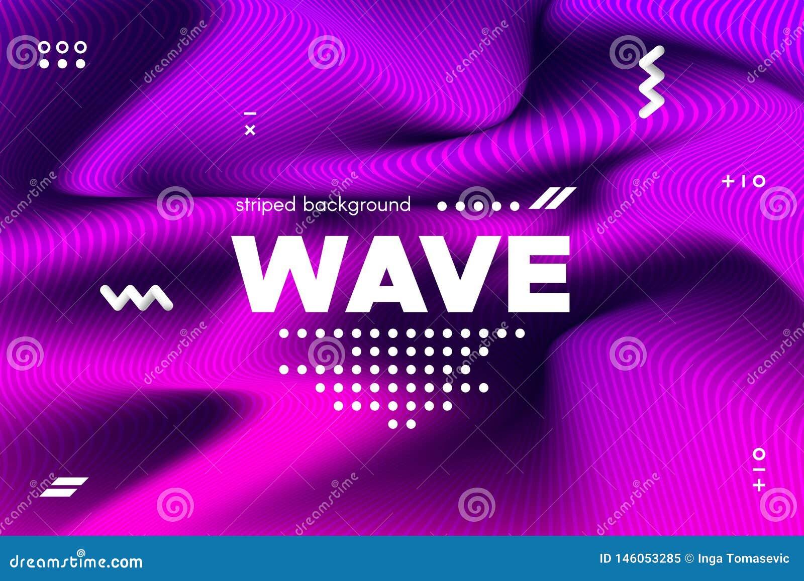 Rayures de vague et ondulation tordues par 3d de la surface