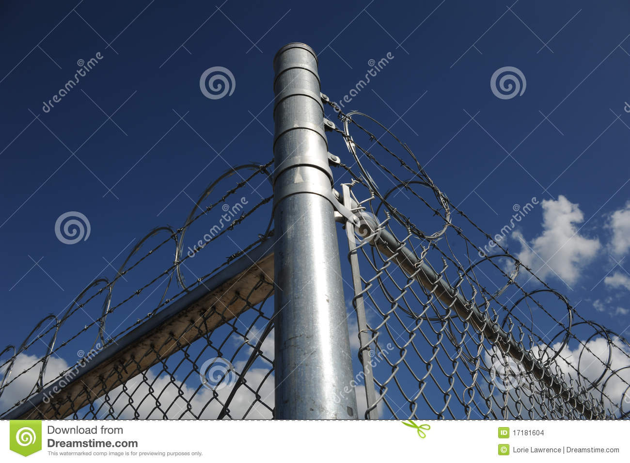 Razor And Barb Wire On Top Of Chain Link Fence Stock ...