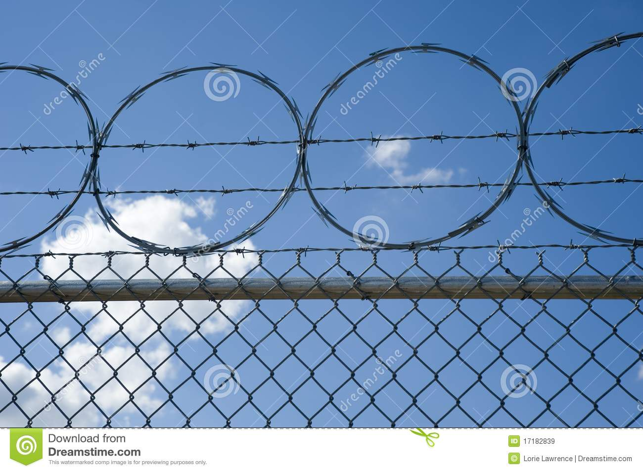 Razor And Barb Wire On Top Of Chain Link Fence Royalty ...
