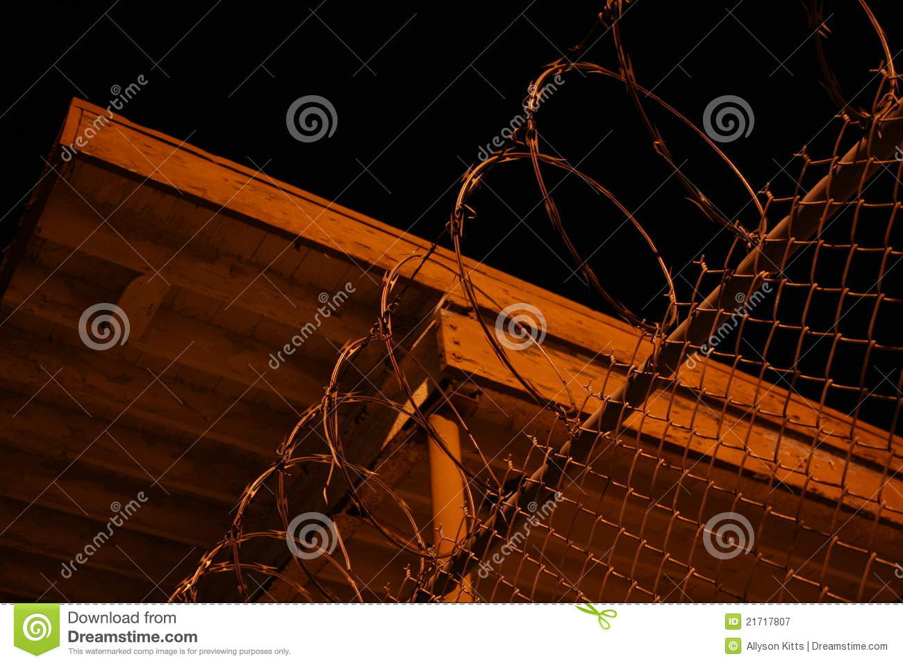Razor Wire At Night Stock Image Image Of Fence Guarded