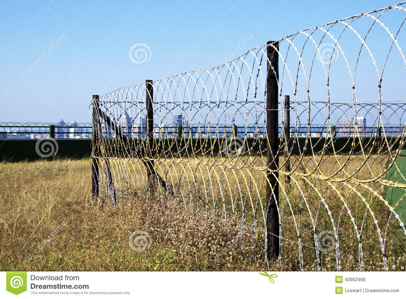 Razor Wire Security Fence Surrounding Protected Structure Stock ...