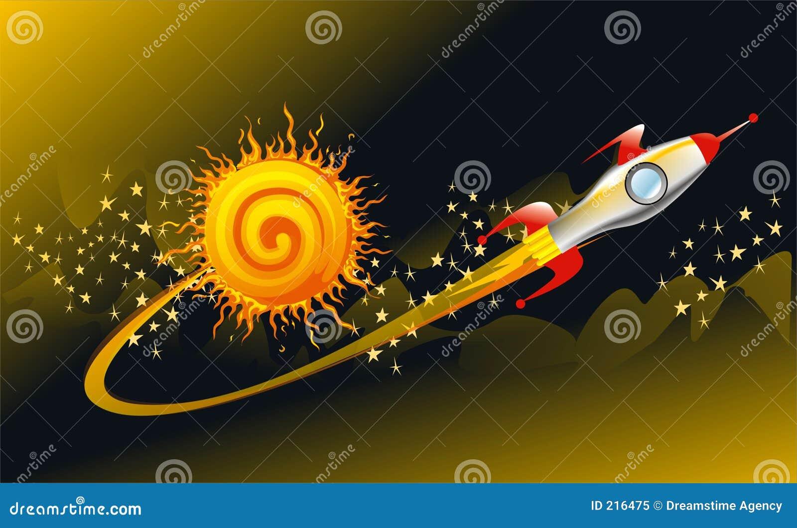Razzo della nave spaziale dell annata nello spazio