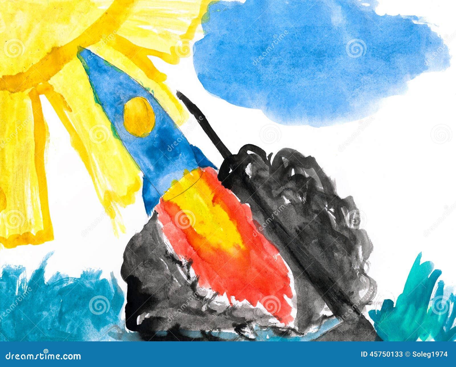 Razzo di spazio del lancio Illustrazione di un padre e di un figlio