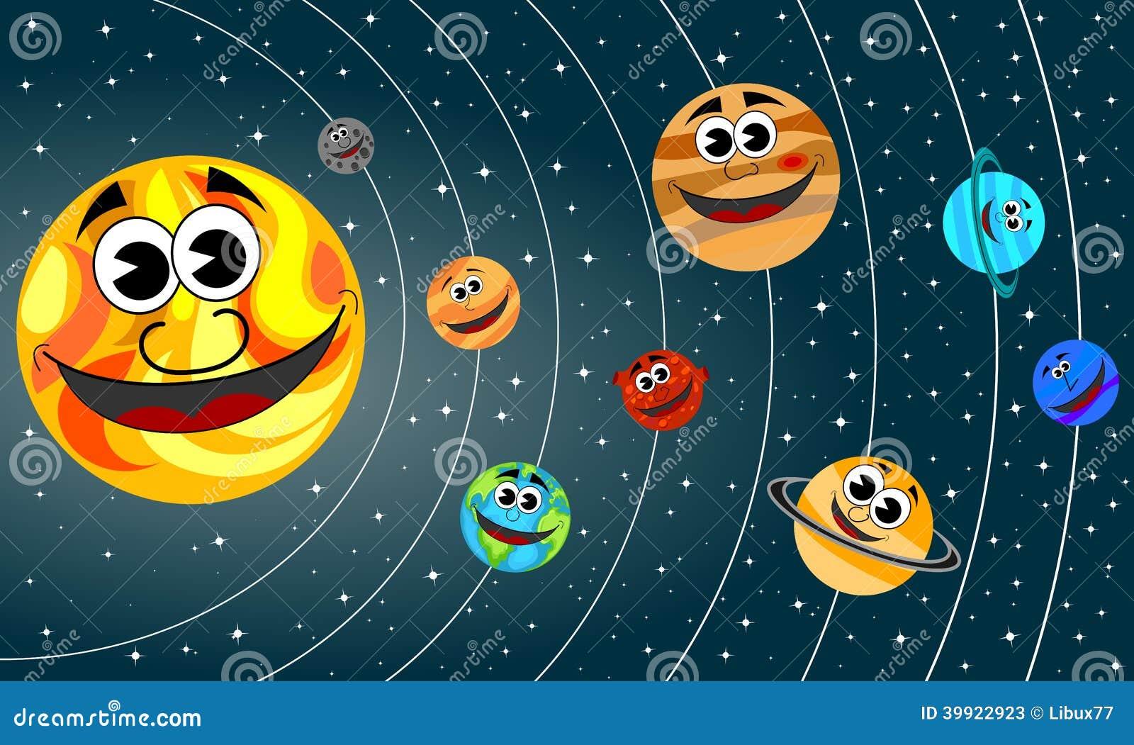 Rbita sonriente de los planetas de la historieta de la - Dibujos infantiles del espacio ...