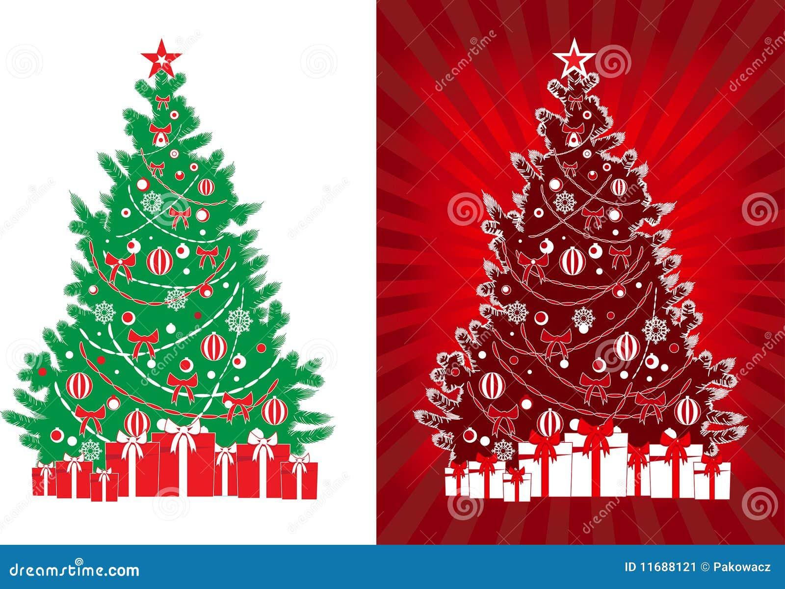 Rbol adornado de navidad del vector con los regalos - Arbol de navidad con regalos ...