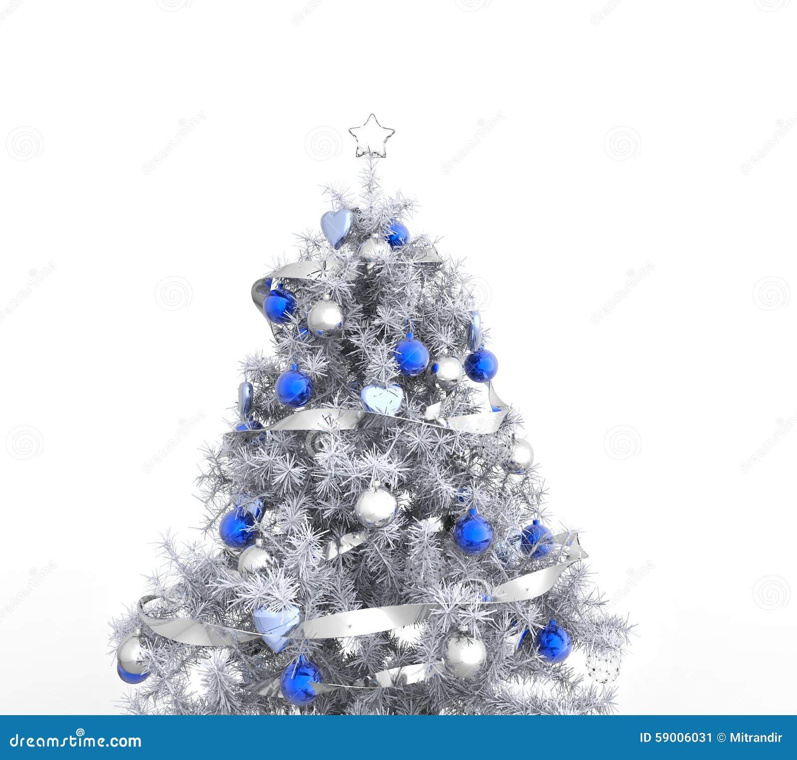 Rbol de navidad blanco con las decoraciones azules stock - Arboles de navidad blanco ...