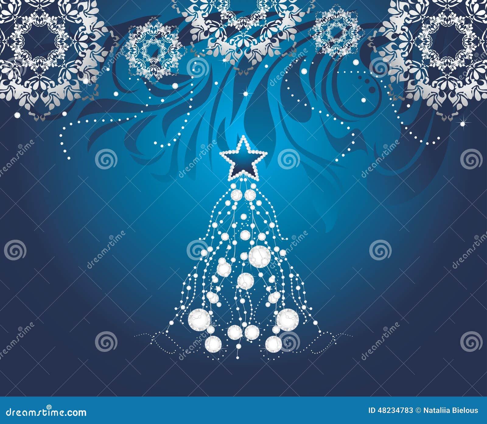Rbol de navidad brillante en fondo azul marino con los - Nieve para arbol de navidad ...