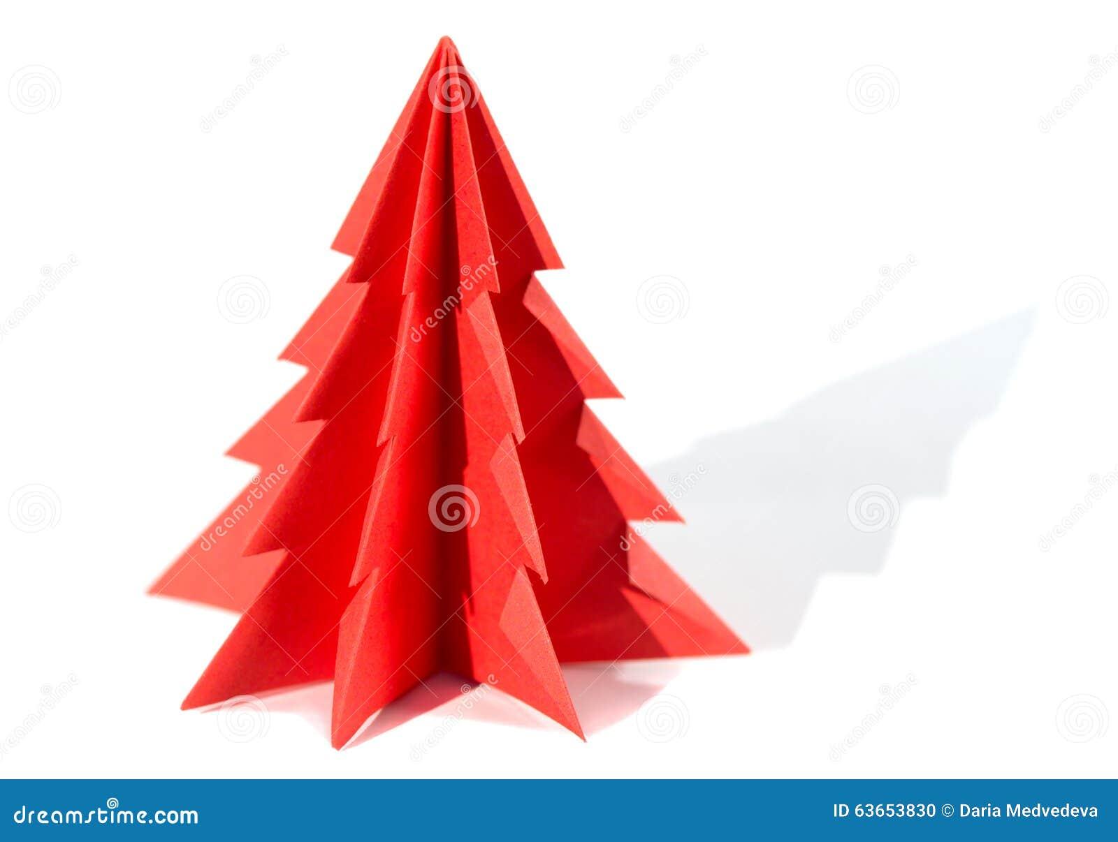 Rbol de navidad de papel papiroflexia aislado en el - Arbol de navidad de origami ...