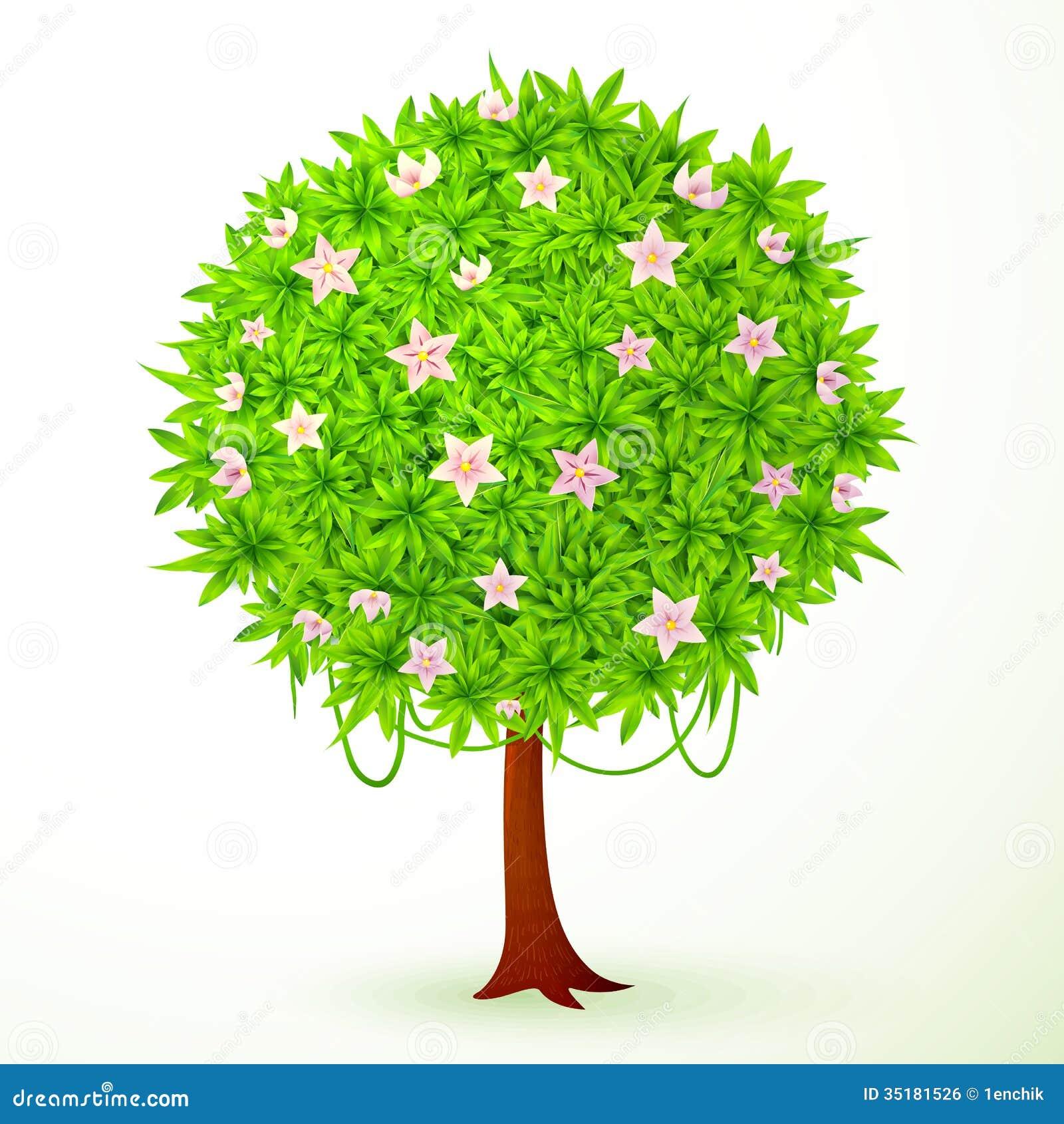 rbol redondo del verde del vector con las flores imagen