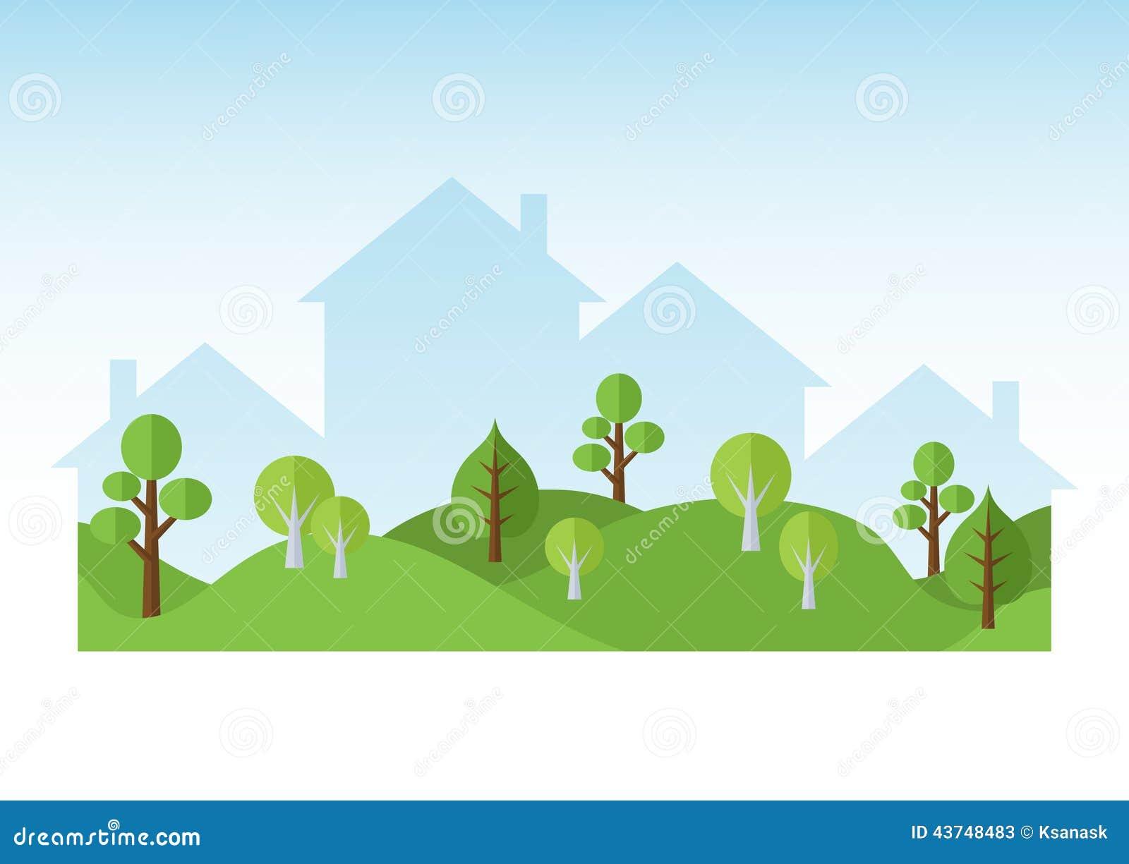 Rboles y siluetas verdes de las casas ilustraci n del for Landscape design paper