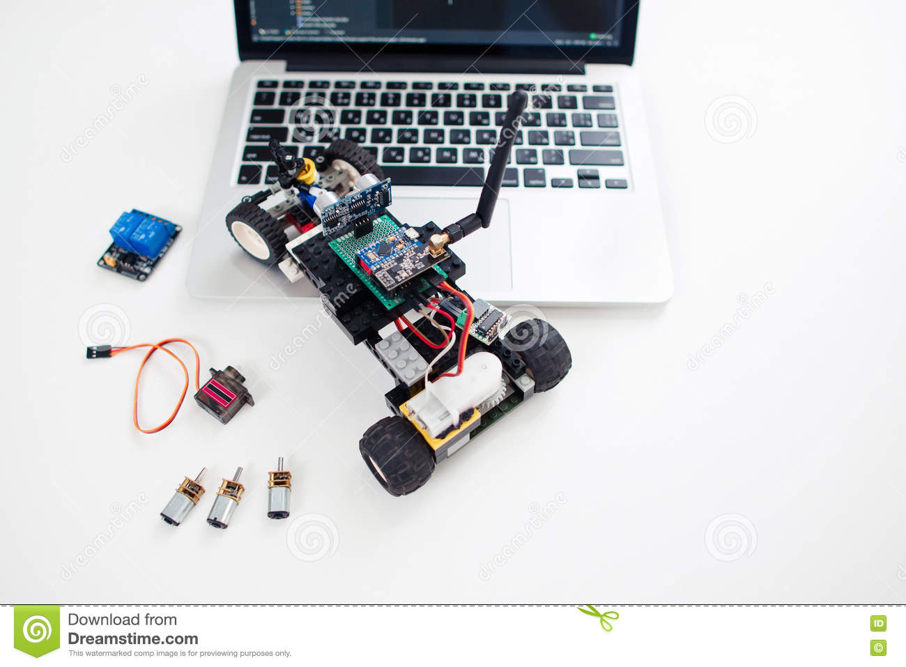 Rc car made on base of microcontroller editorial stock