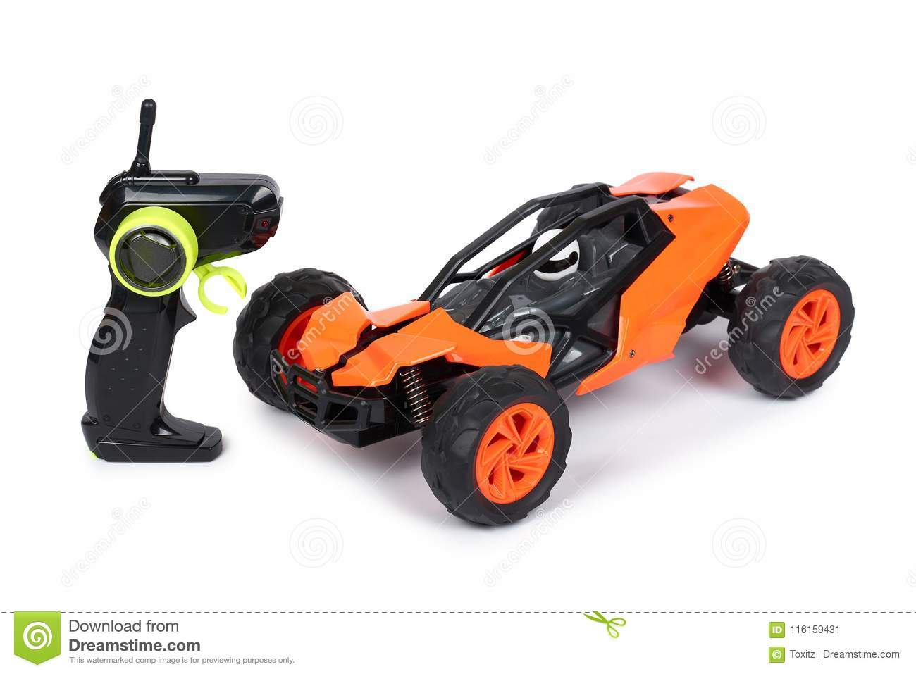RC model rally, off road buggy with remote control. Isolated on white background, joy and fun sport