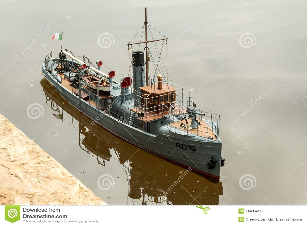 Remote-control Scale Warship At Competitions  Editorial Stock Photo