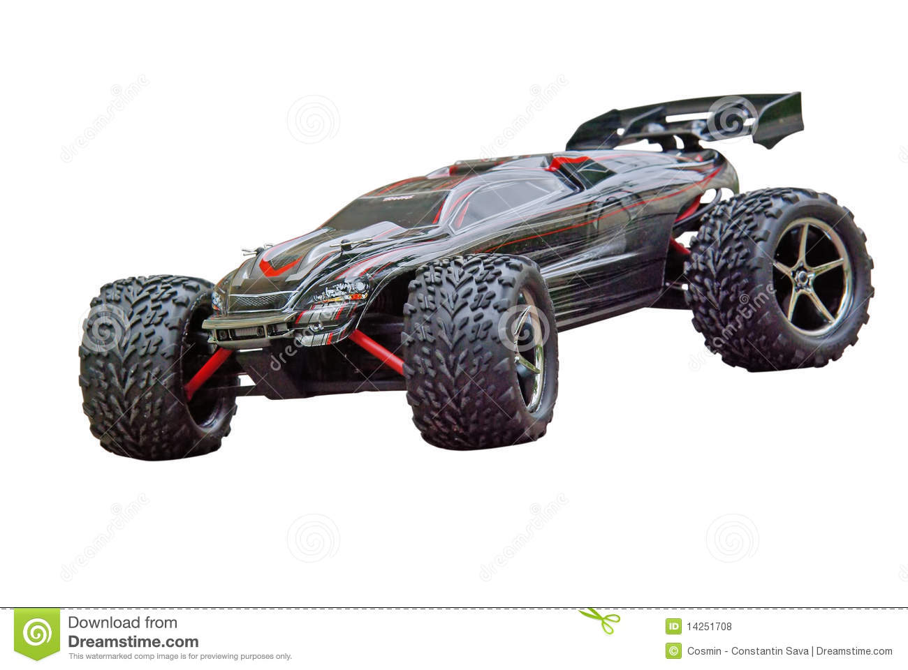 Radio controlled sport car isolated on a white background.