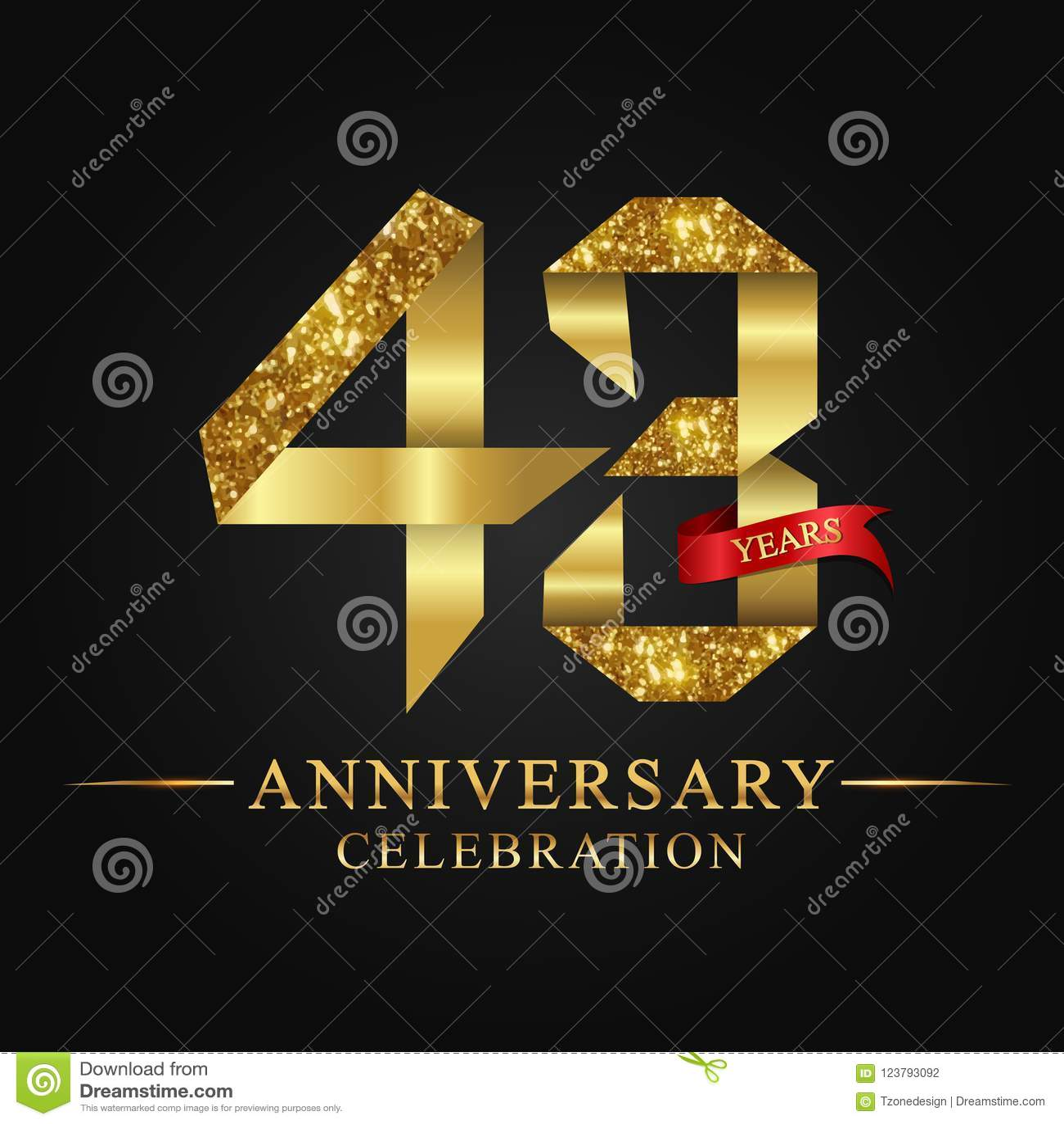 43rd Anniversary Years Celebration Logotype Logo Ribbon Gold Number