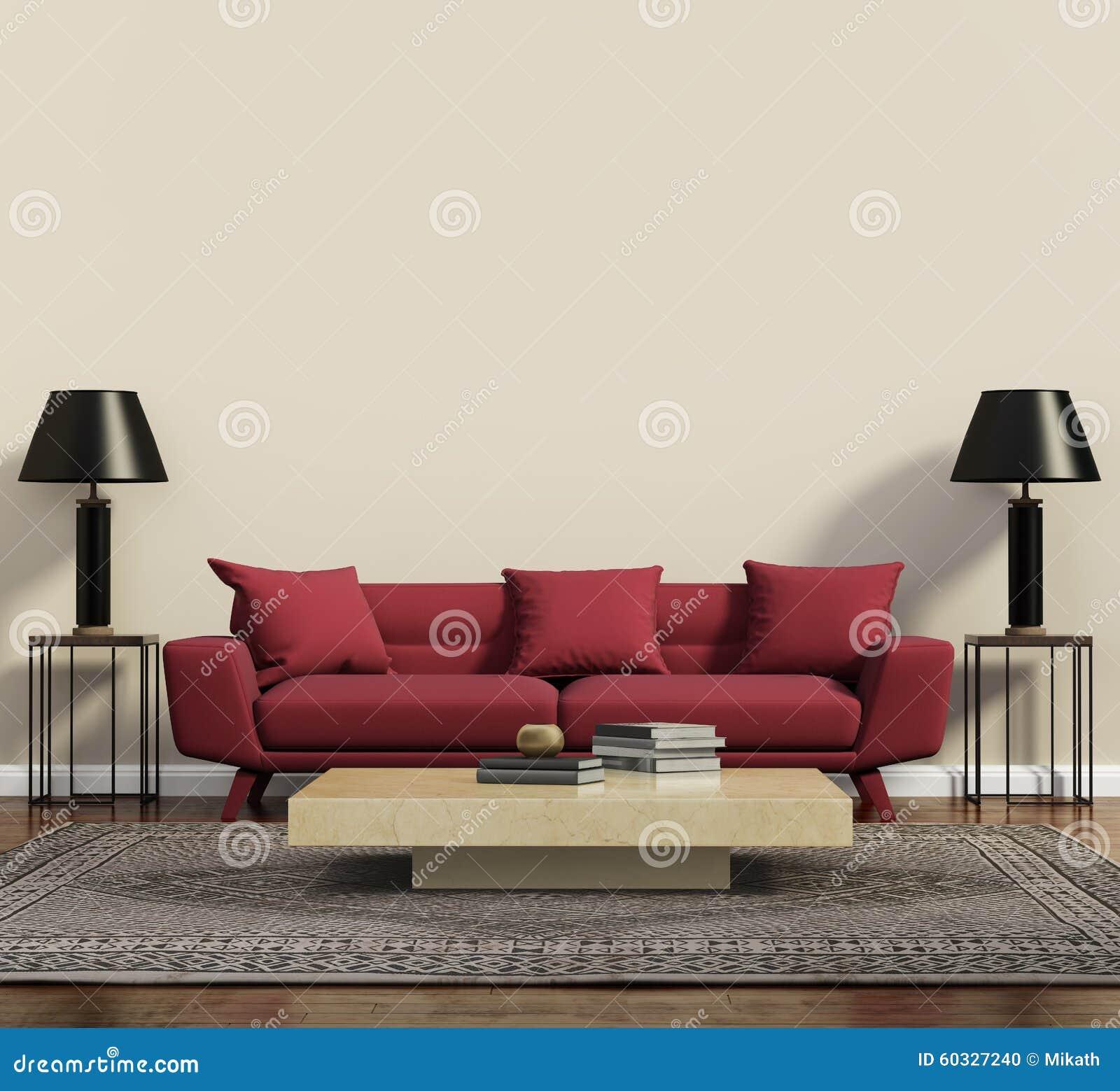 Röd soffa i en modern modern vardagsrum stock illustrationer ...