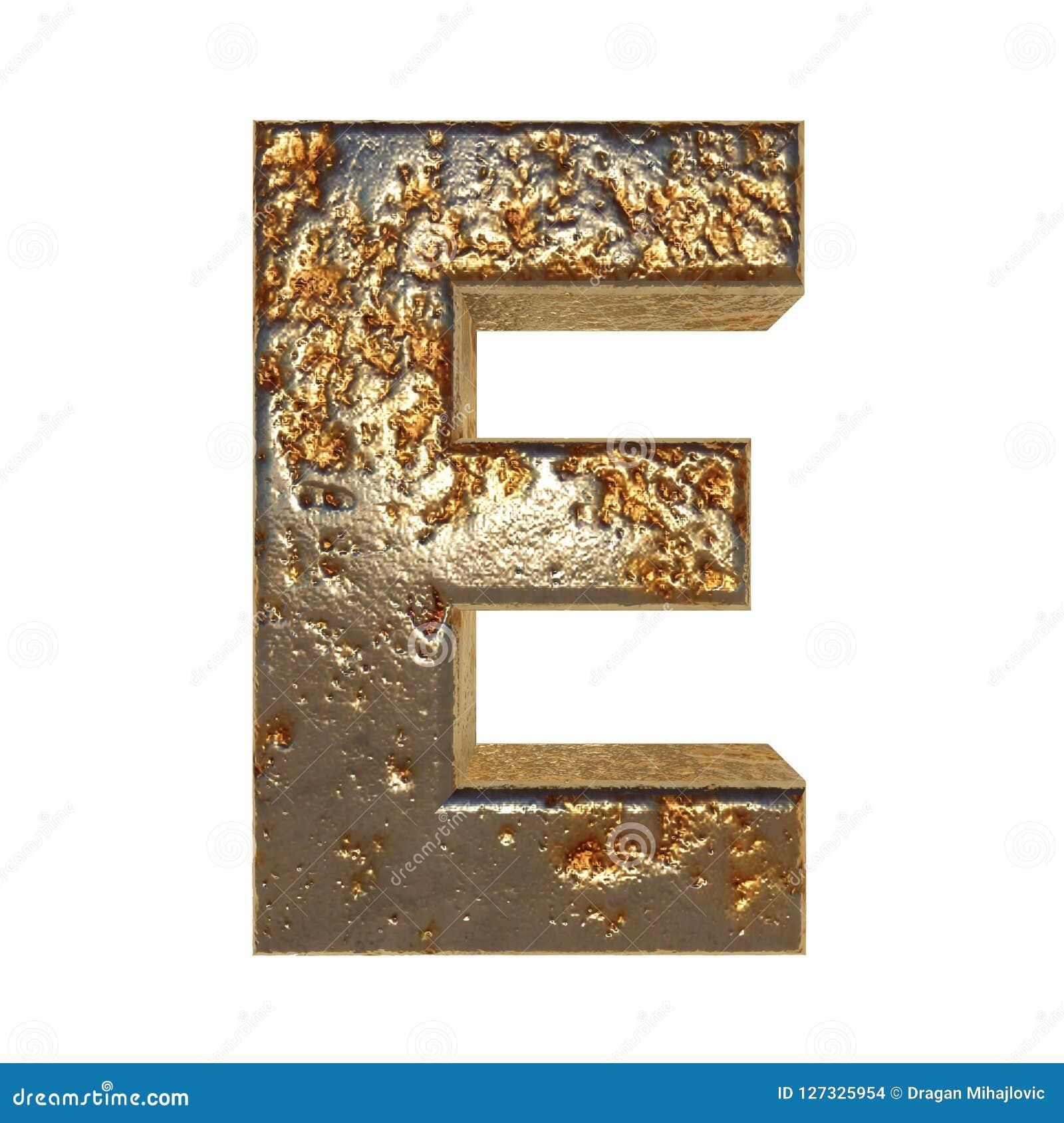 Rdzewiejący metalu list E