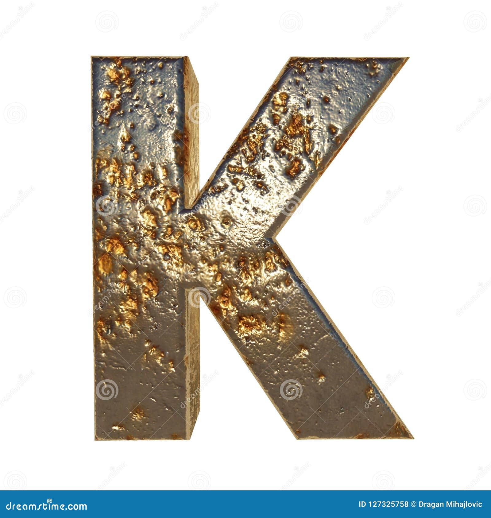 Rdzewiejący metalu list K