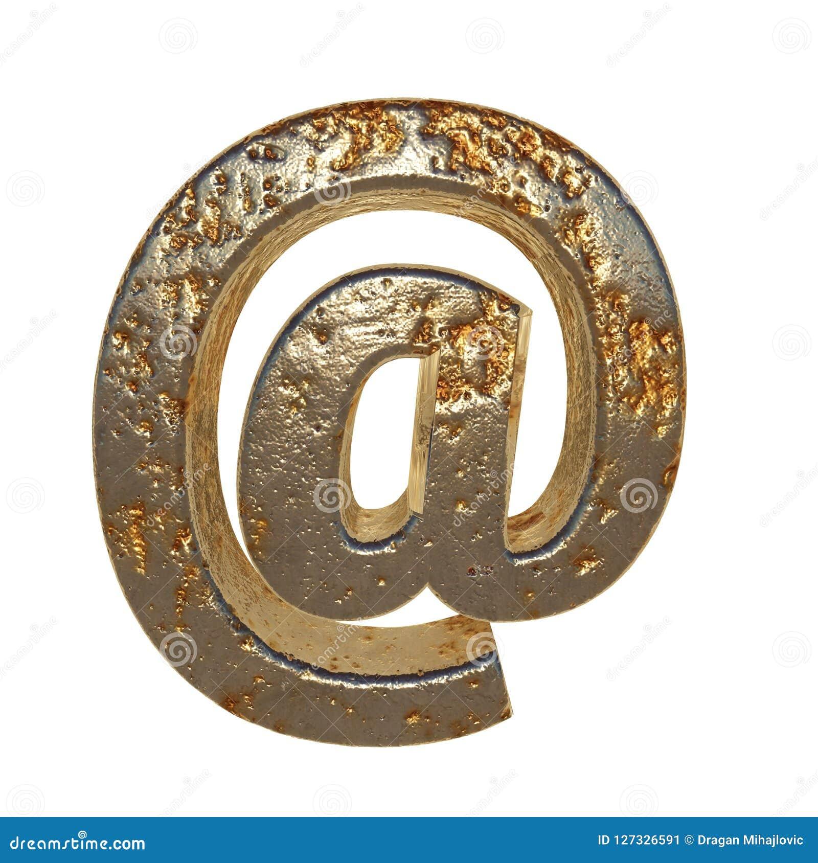 Rdzewiejący metalu symbol @