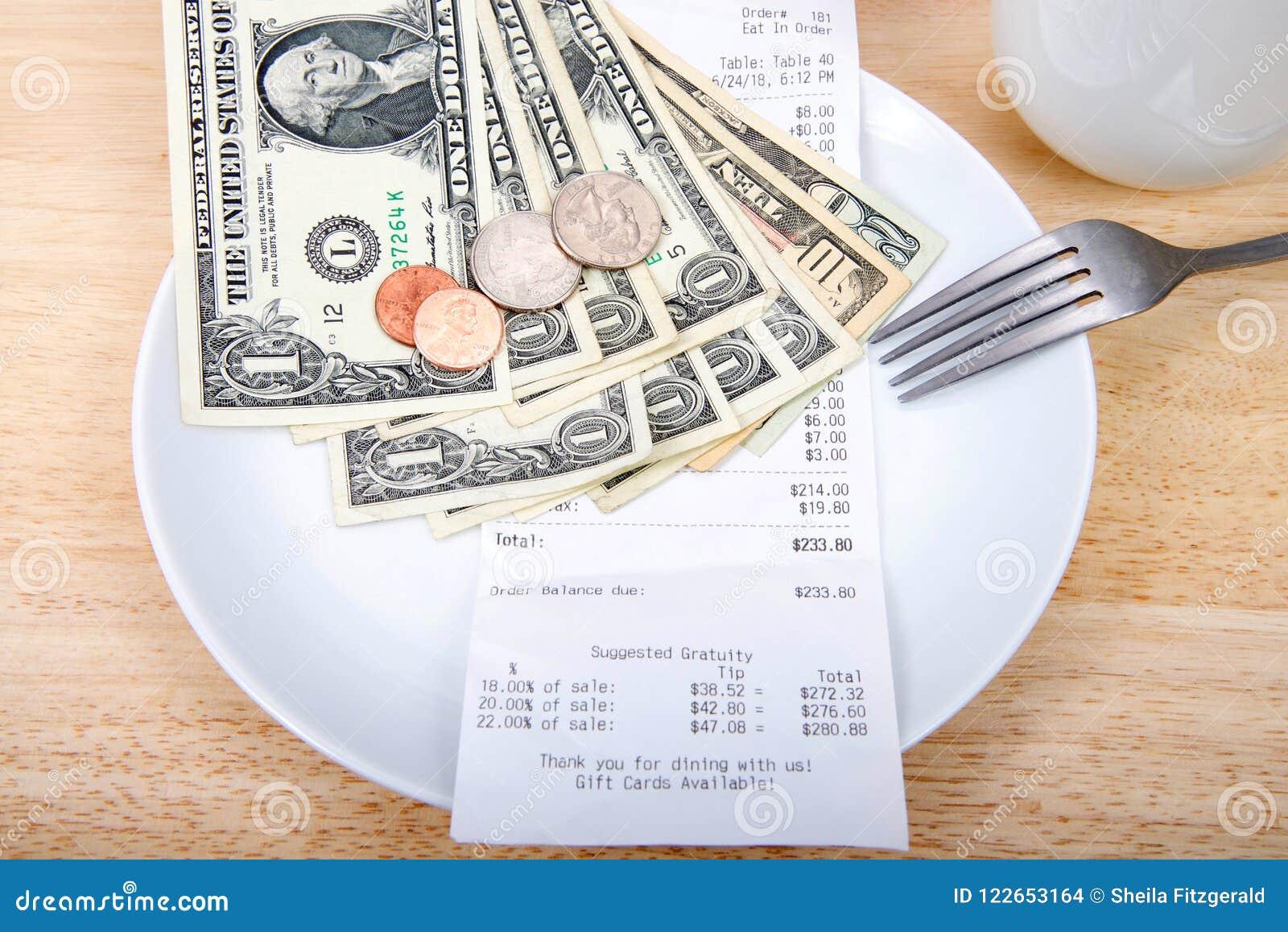 Reçu de calcul de pourboire de plat avec l argent