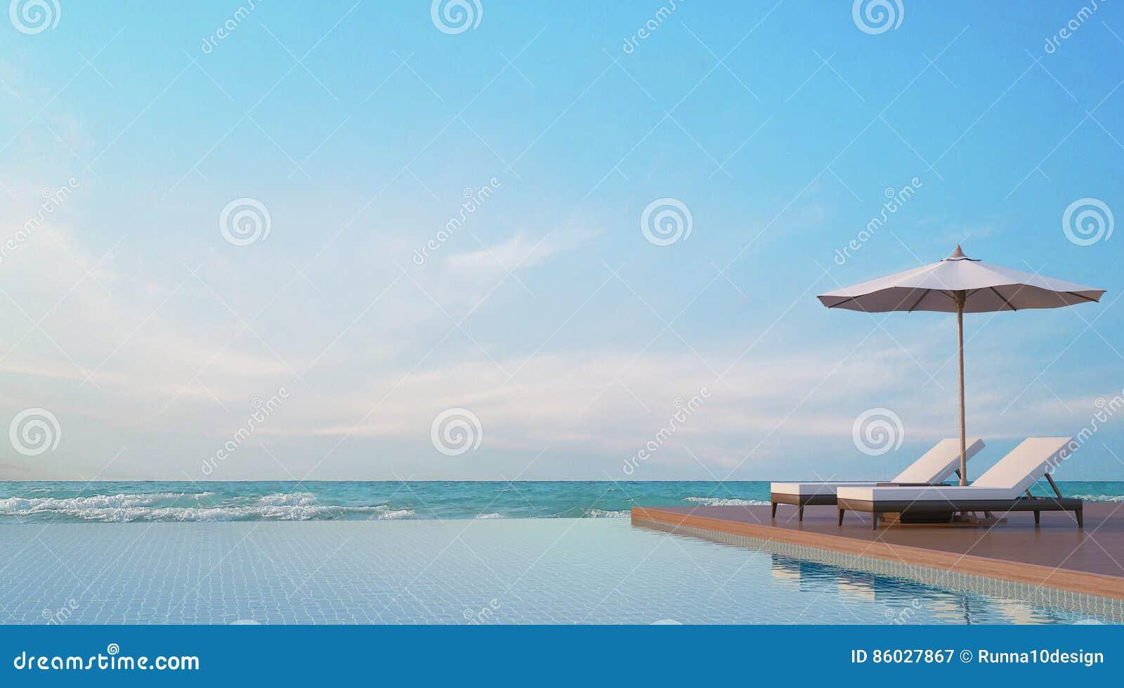 Reúna la terraza con imagen de la representación de la opinión 3d del mar