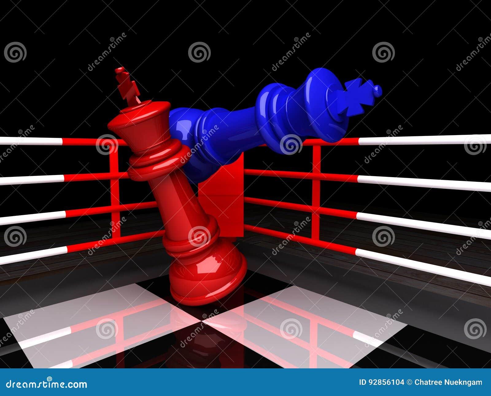 Re blu di scacchi è dato scacco matto, rappresentazione 3D