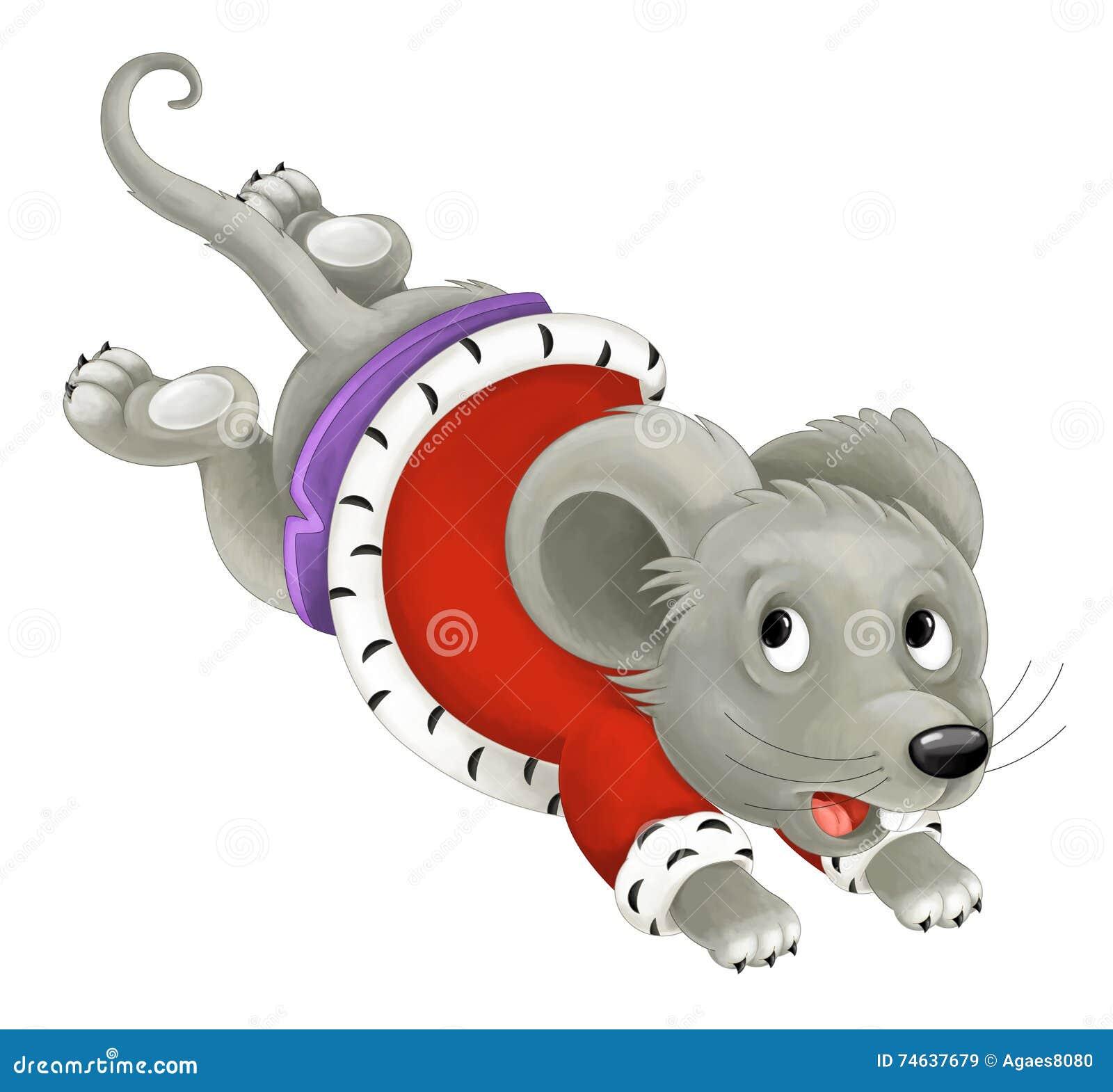 Re della creatura del fumetto che corre e che salta topo isolato