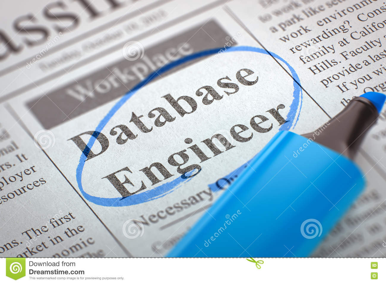 We`re Hiring Database Engineer  3D  Stock Image - Image of