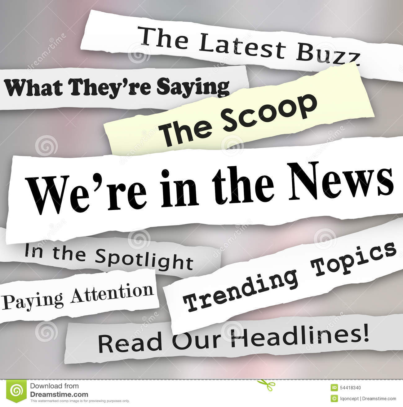 We're In The News Ripped Torn Newspaper Headlines ...