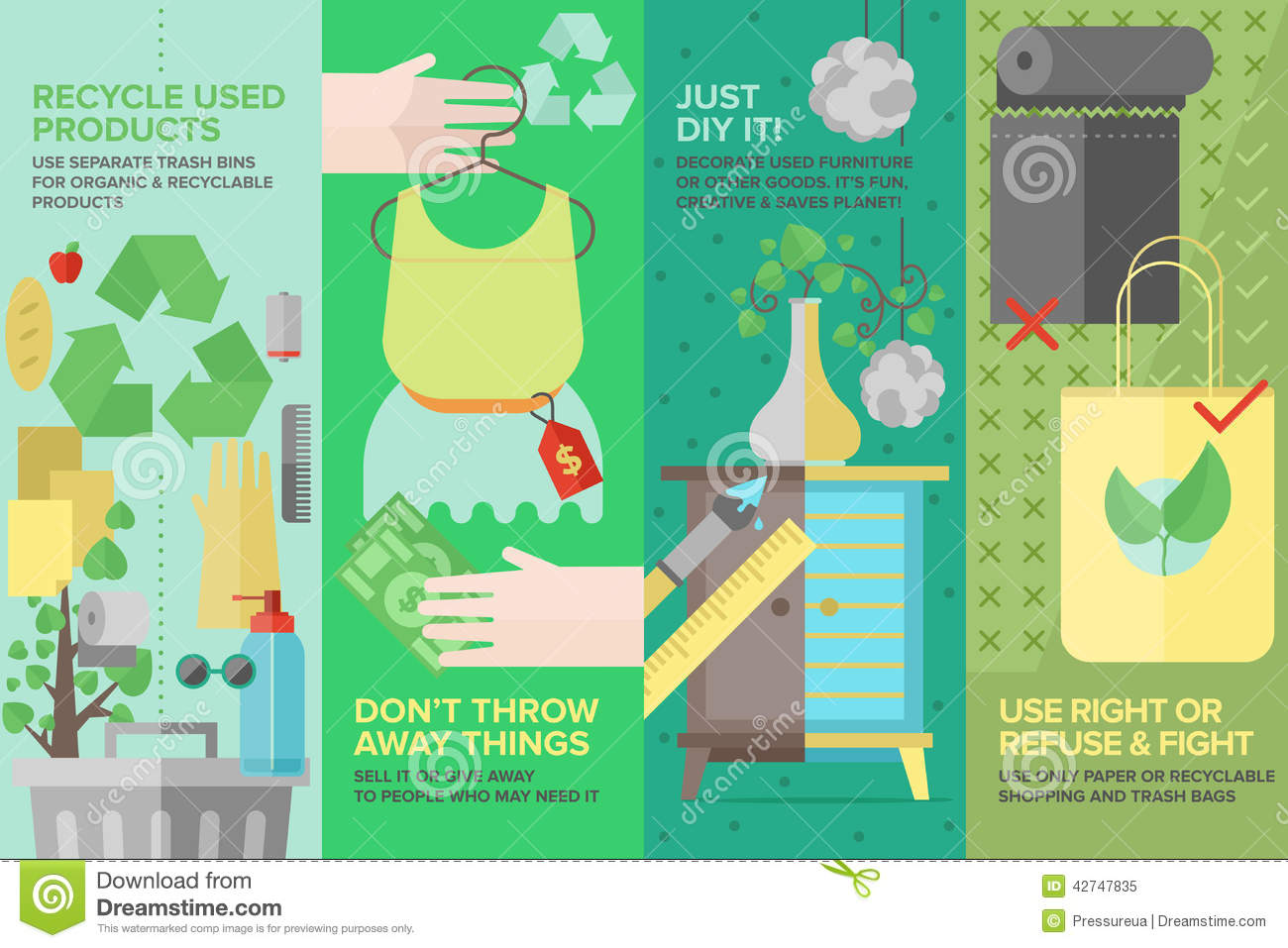 Скачать Eco Technology Flat Icons: Re-used And Recyclable Products Flat Icons Set Stock