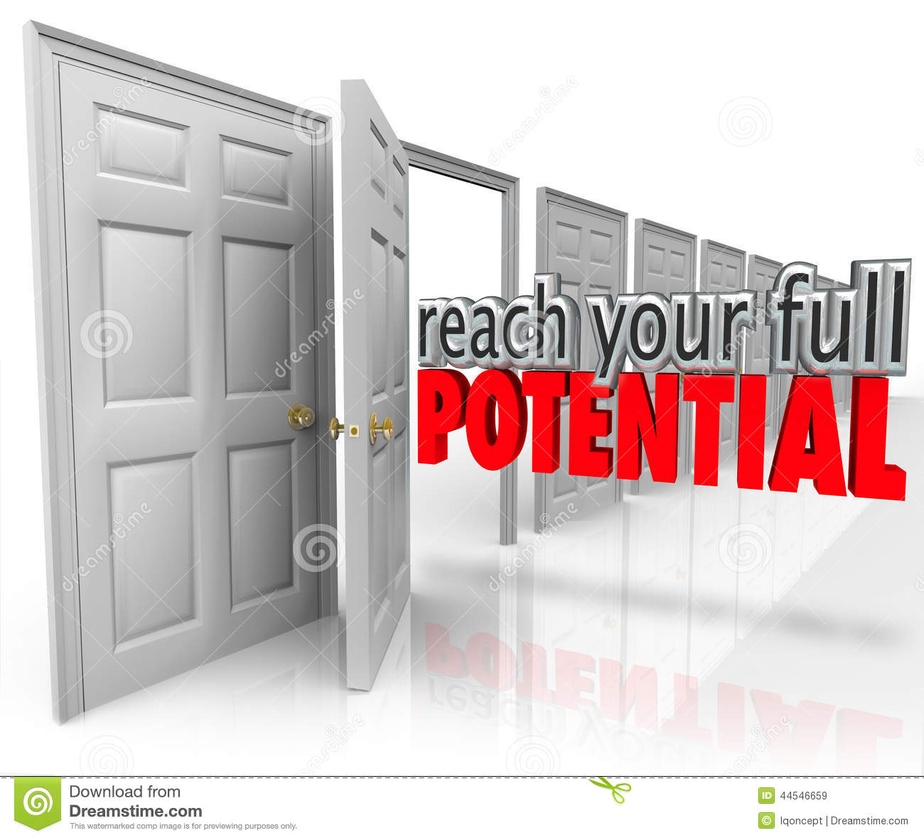 Reach your full potential 3d words coming out an open door leading to